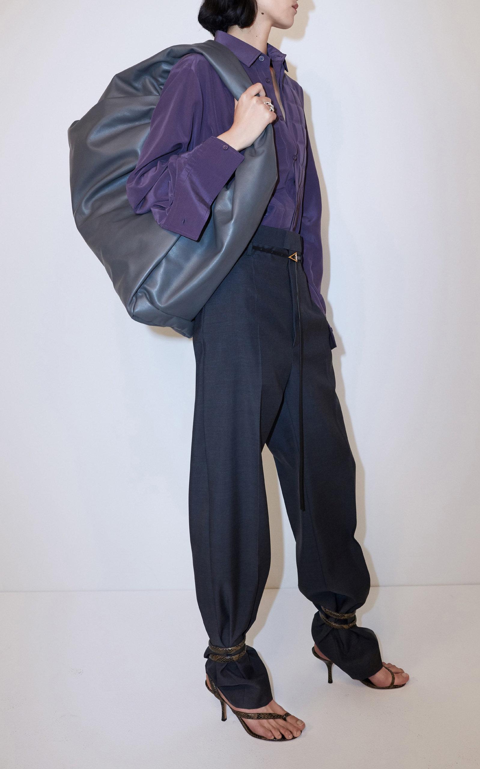 Bottega Veneta - Women's High-Rise Straight-Leg Wool Trouser  - Grey/brown - Moda Operandi