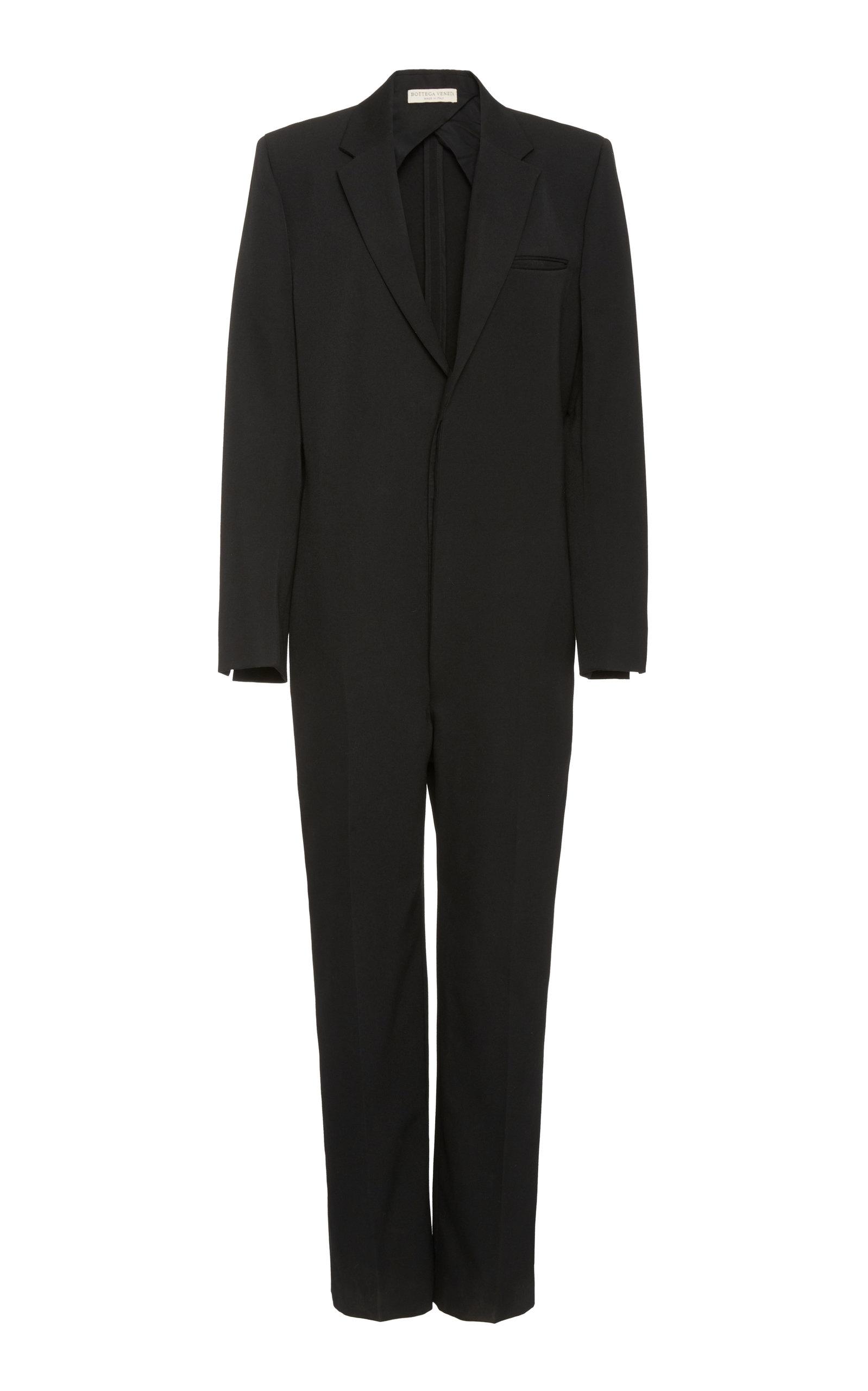 Bottega Veneta - Women's Tailored V-Neck Wool Jumpsuit - Black - Moda Operandi