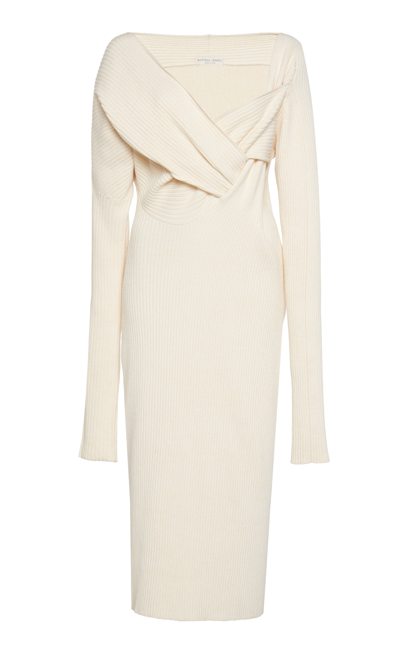 Buy Bottega Veneta Asymmetric Draped Knitted Midi Dress online, shop Bottega Veneta at the best price
