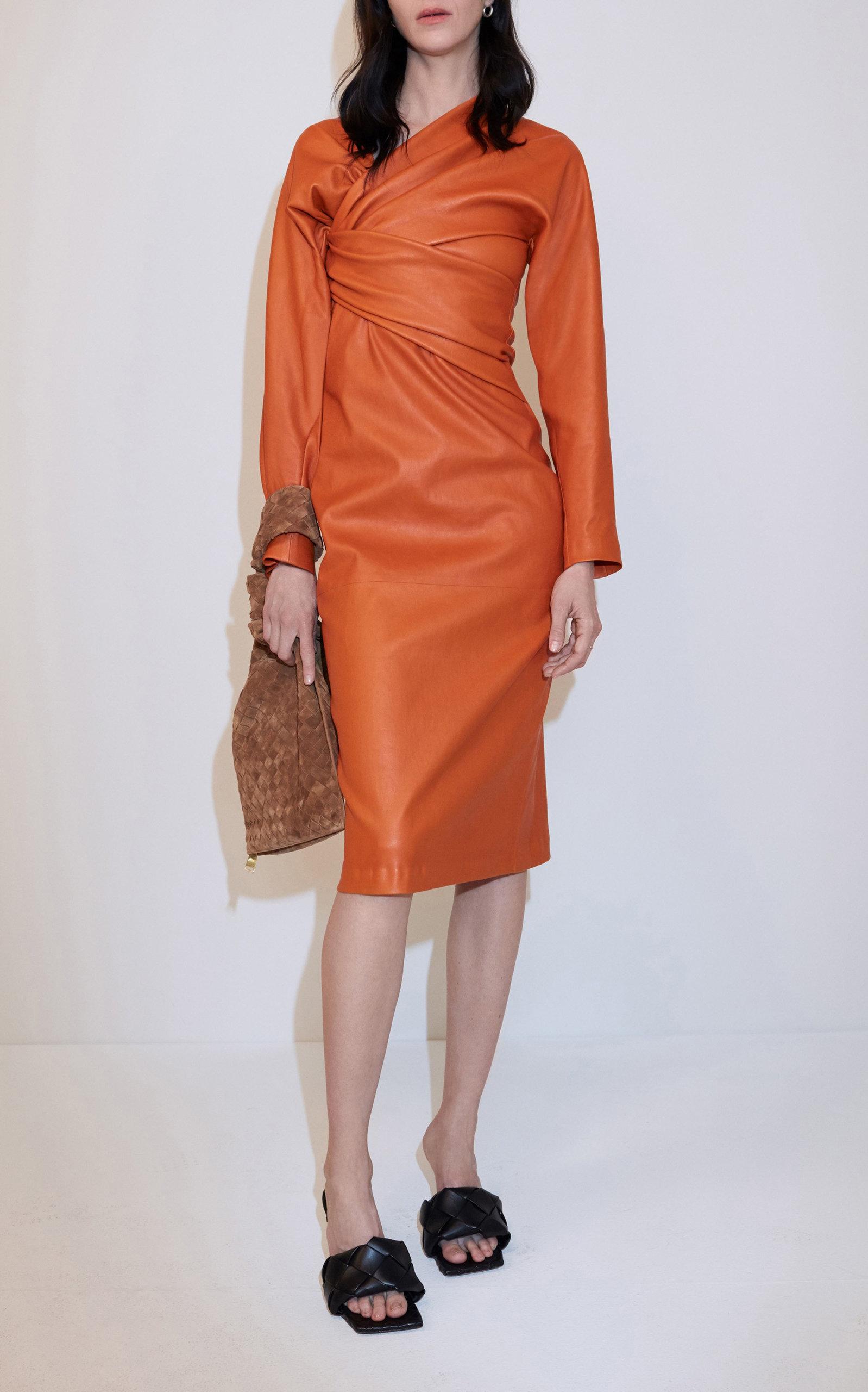 Bottega Veneta – Women's Draped Leather Dress – Orange – Moda Operandi