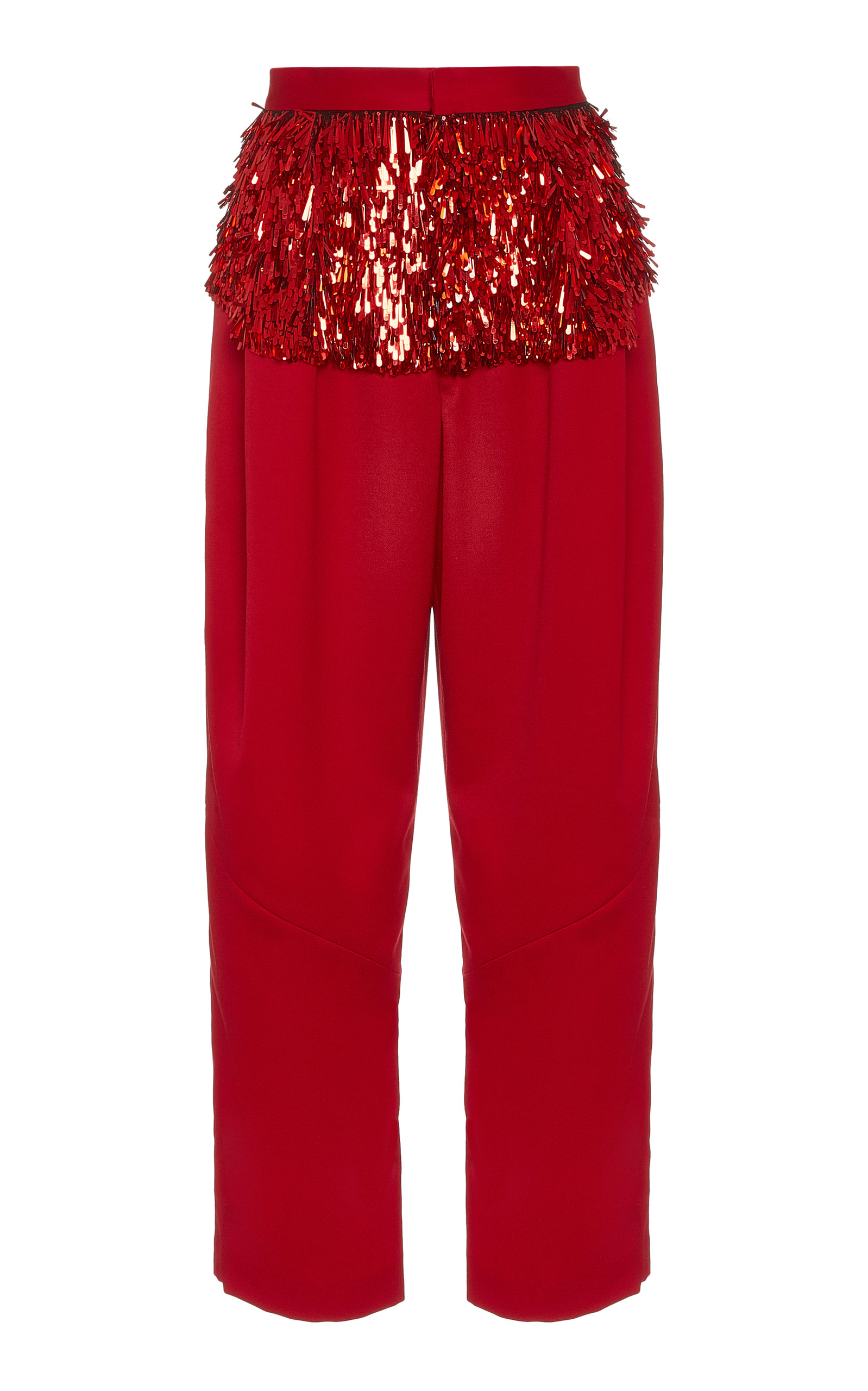 Rachel Comey Divide pant in red wool with sequin embellishment.