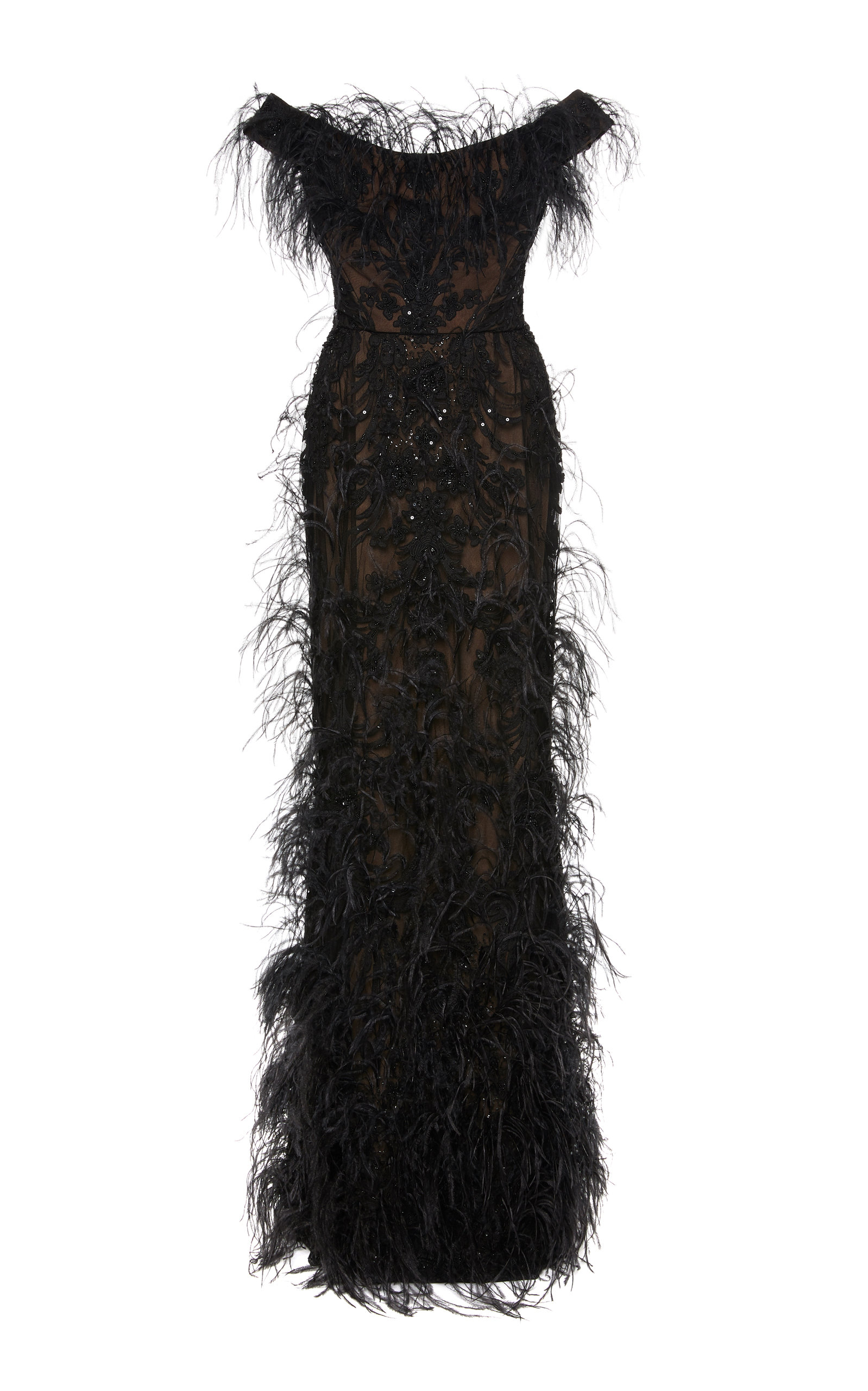 Buy Marchesa Ostrich Feather-Embellished Organza Gown online, shop Marchesa at the best price