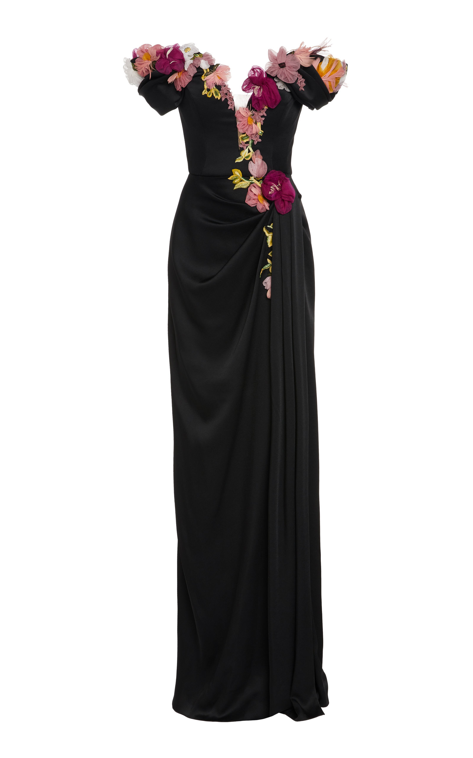 Buy Marchesa Floral-Embroidered Organza Gown online, shop Marchesa at the best price