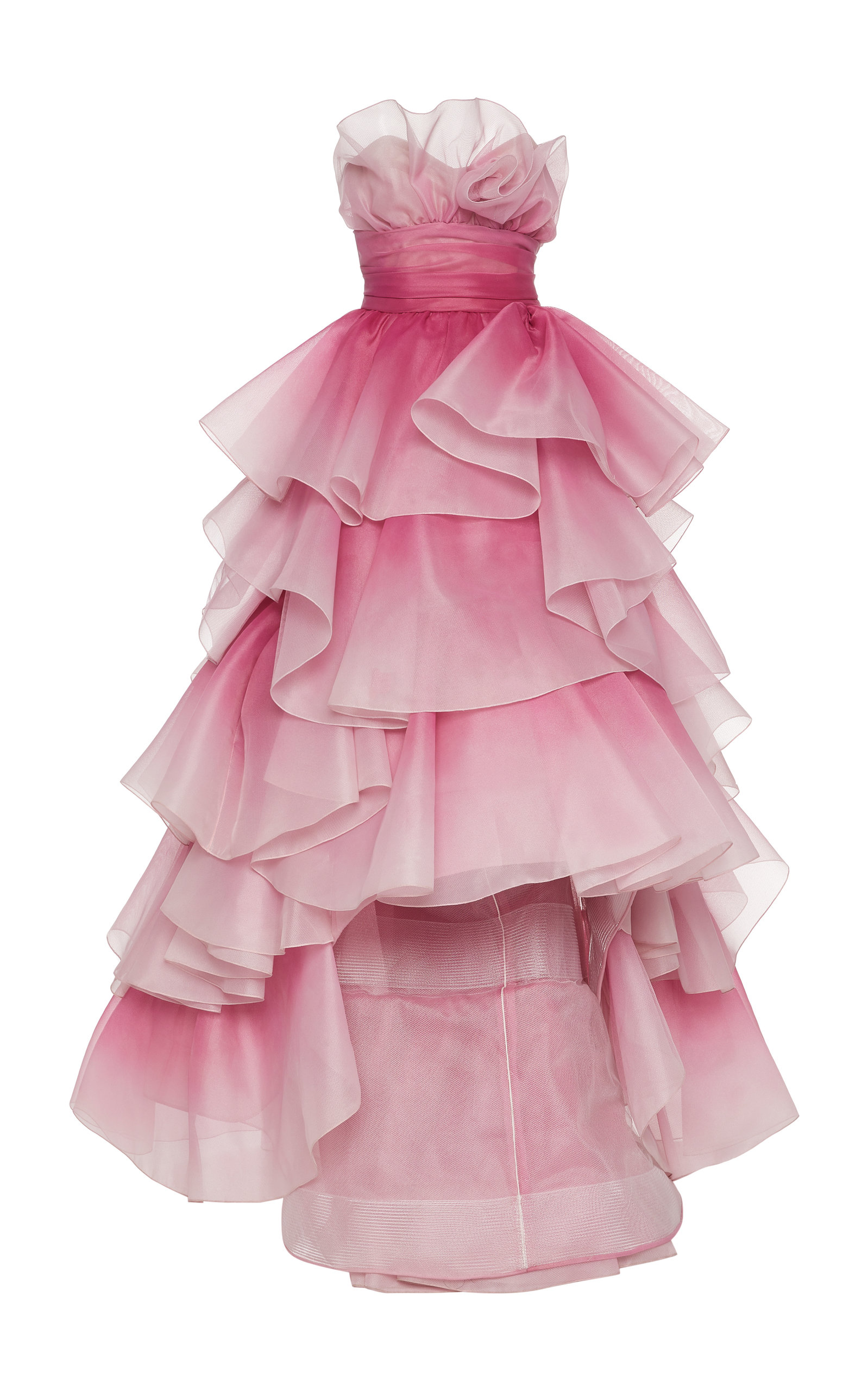 Buy Marchesa Tiered-Ruffle Strapless Tulle Gown online, shop Marchesa at the best price