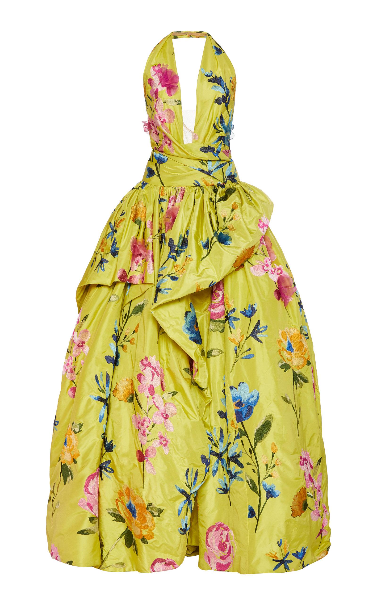 Buy Marchesa Floral-Embroidered Taffetta Halterneck Gown online, shop Marchesa at the best price