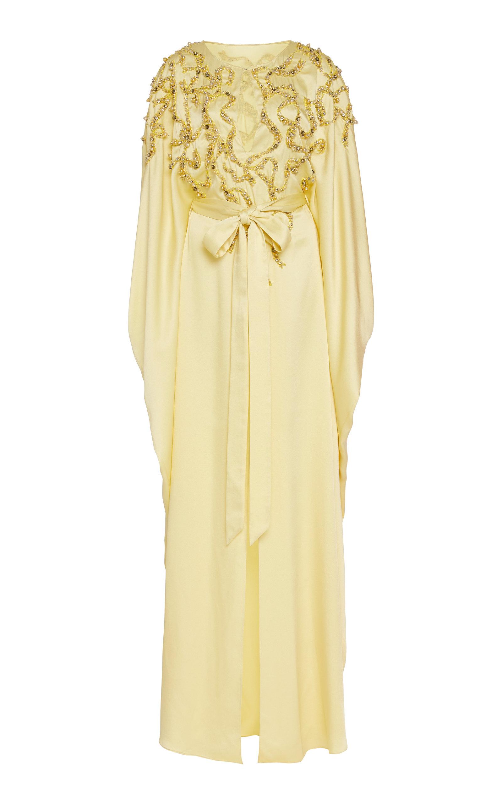 Buy Marchesa Embellished Crepe De Chine Caftan Dress online, shop Marchesa at the best price