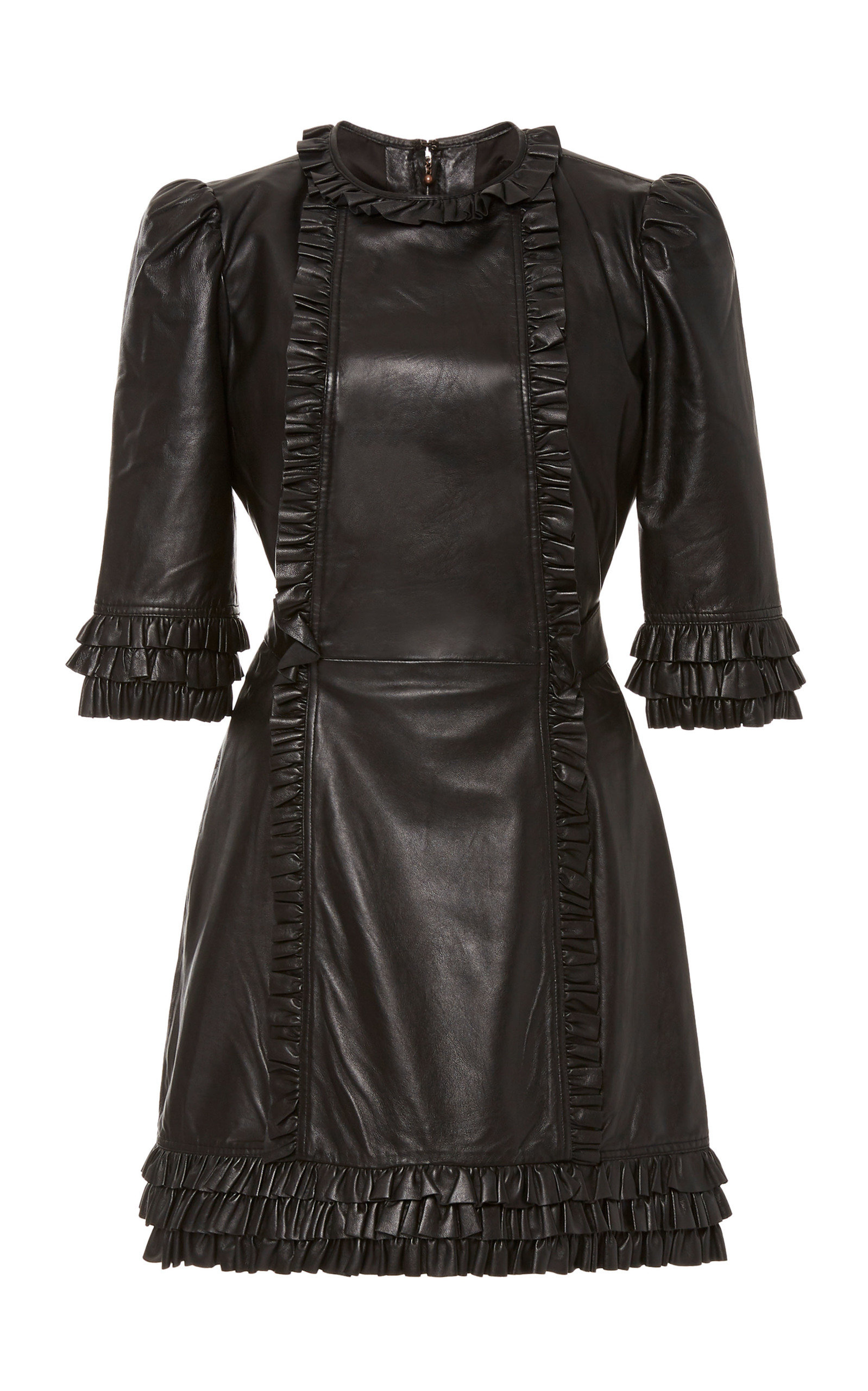 Buy Current/Elliott x The Vampire's Wife Kate Ruffled Leather Mini Dress online, shop Current/Elliott x The Vampire's Wife at the best price