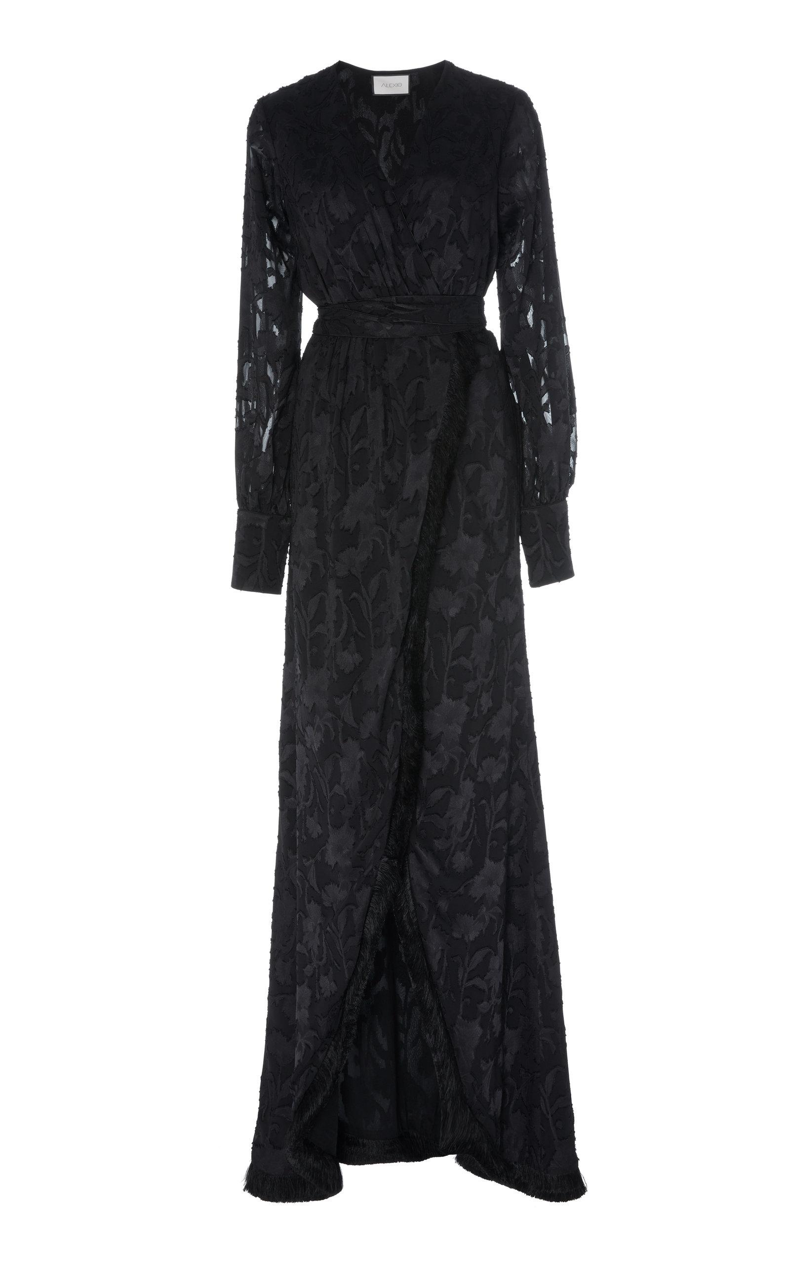 Buy Alexis Antonella Fringed Devoré-Satin Wrap Maxi Dress online, shop Alexis at the best price