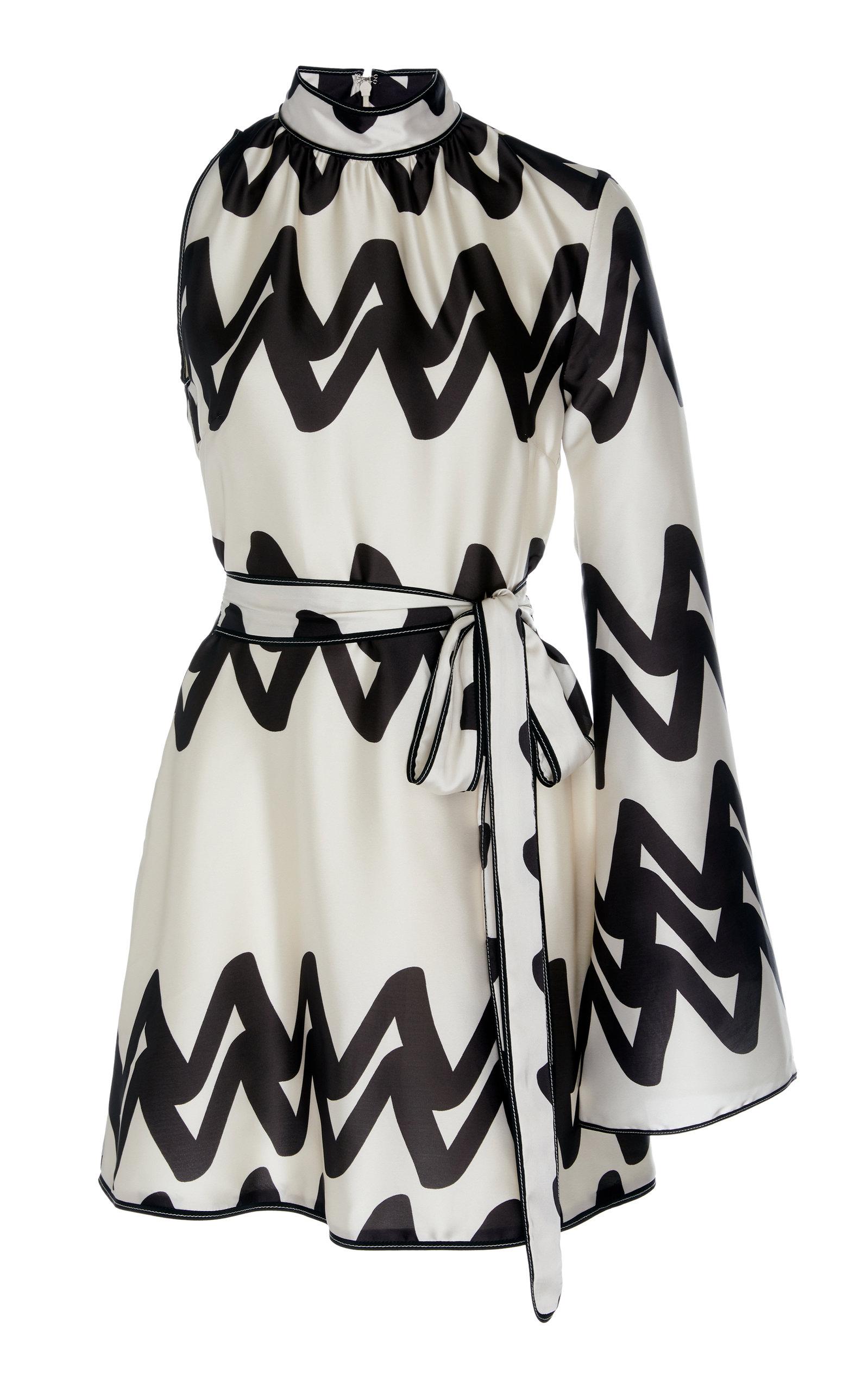 Buy Alexis Elina Asymmetric Two-Tone Printed Satin Mini Dress online, shop Alexis at the best price