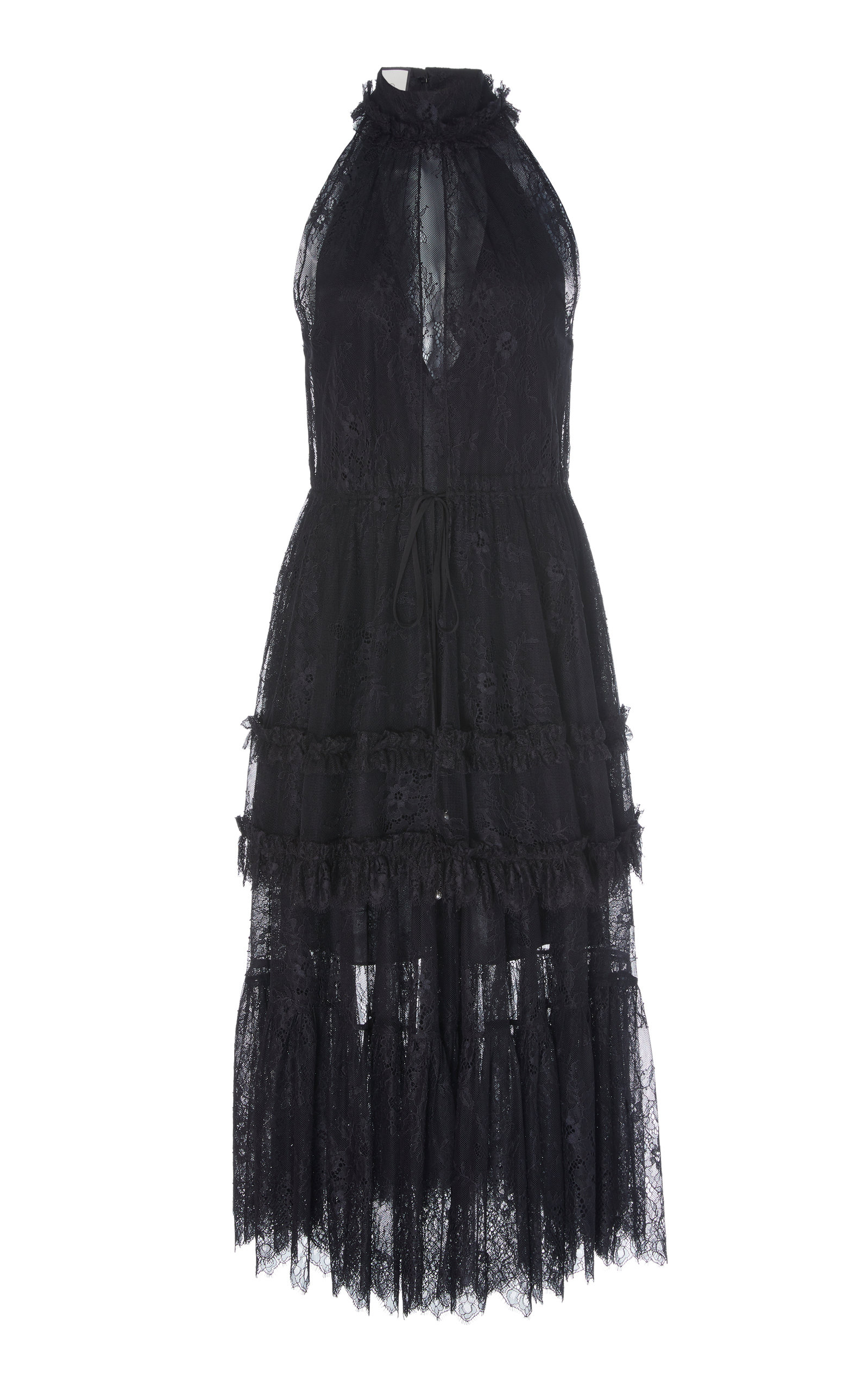 Buy Alexis Magdalina Tiered Halterneck Lace Midi Dress online, shop Alexis at the best price