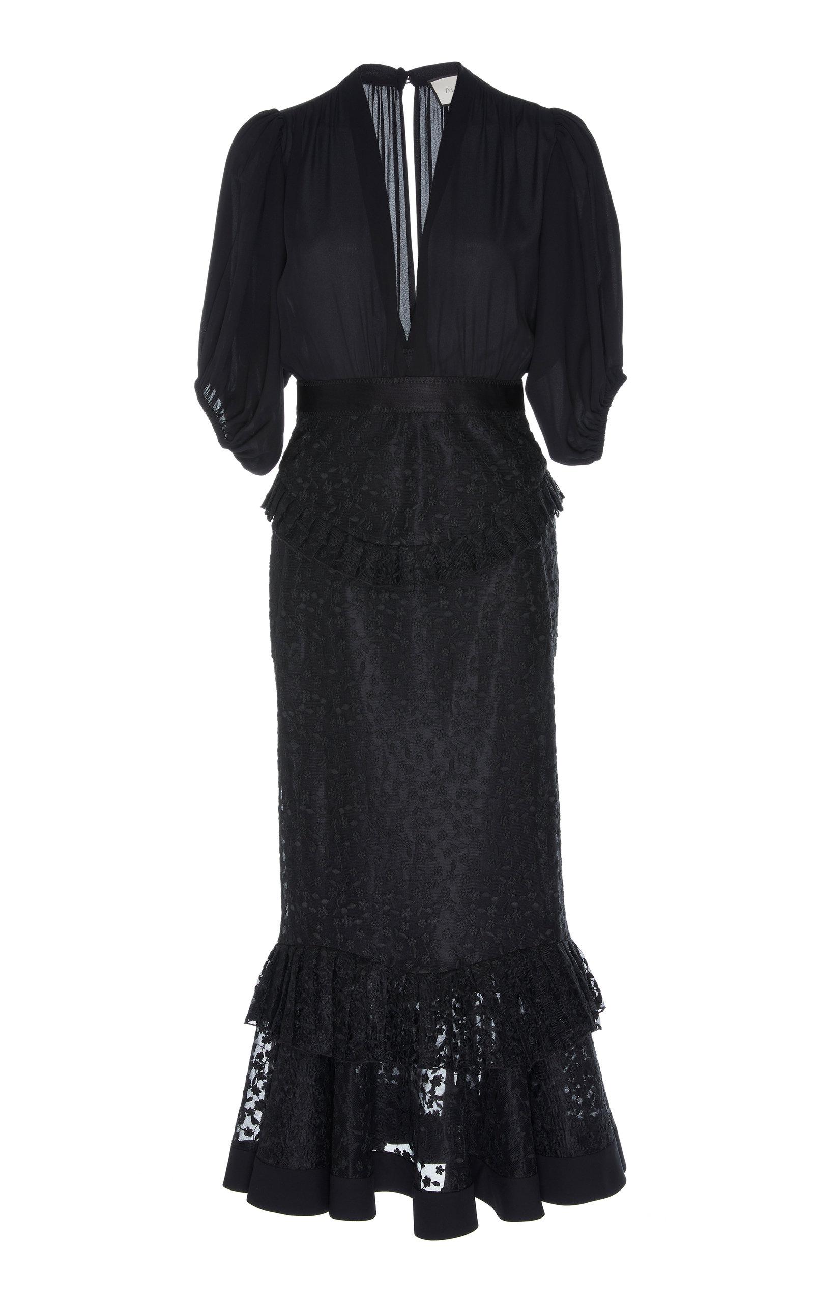 Buy Alexis Dilarra Tiered Devoré-Chiffon Midi Dress online, shop Alexis at the best price