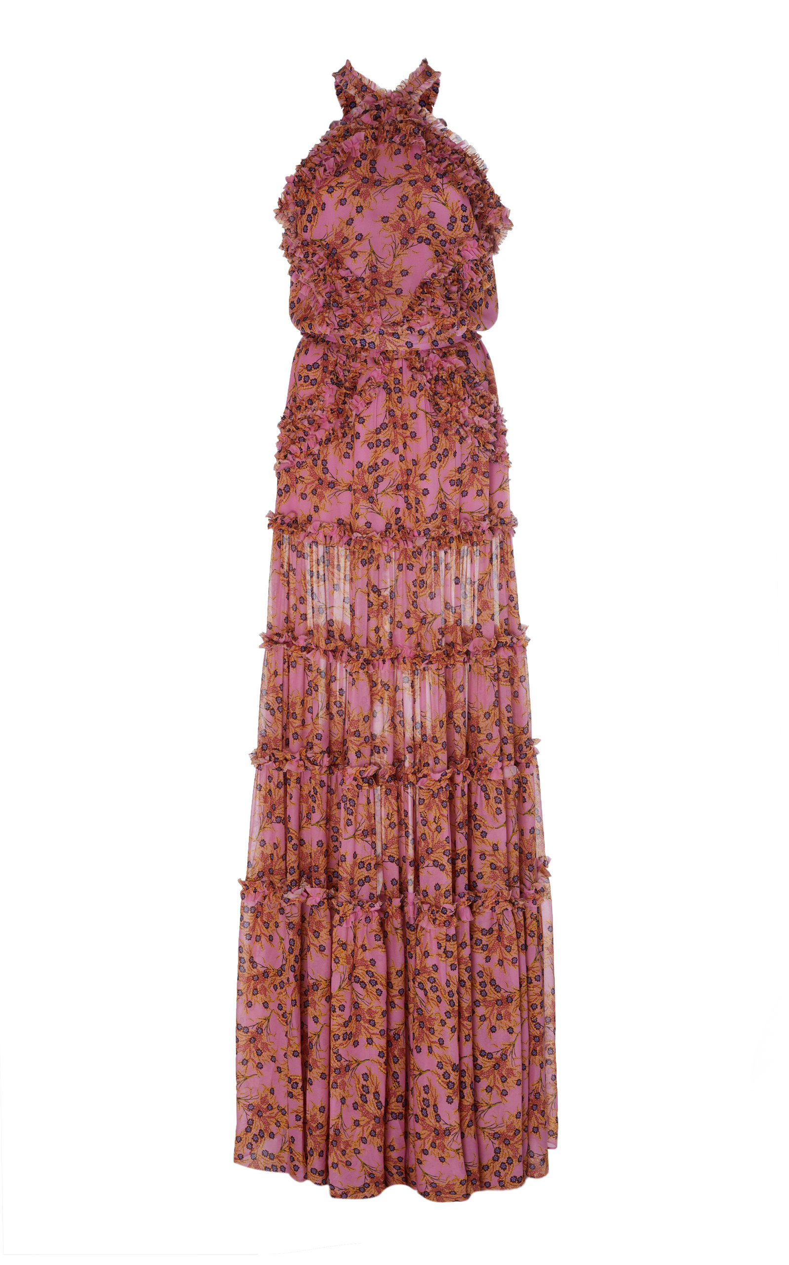Buy Alexis Genevra Ruffled Printed Georgette Maxi Dress online, shop Alexis at the best price