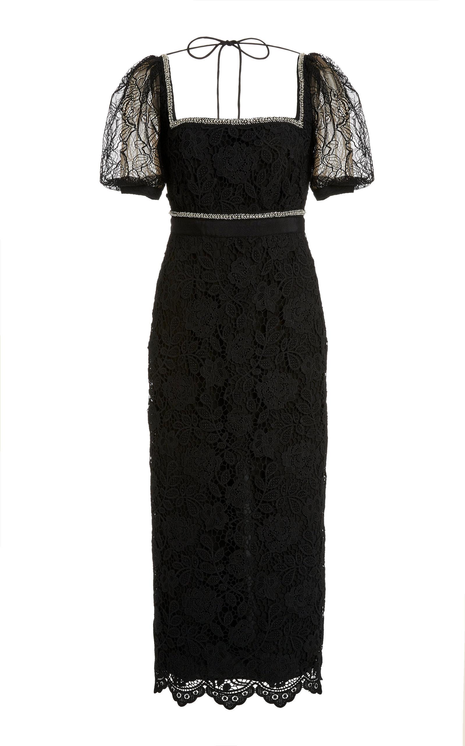 Buy Self Portrait Square-Neck Lace Midi Dress online, shop Self Portrait at the best price