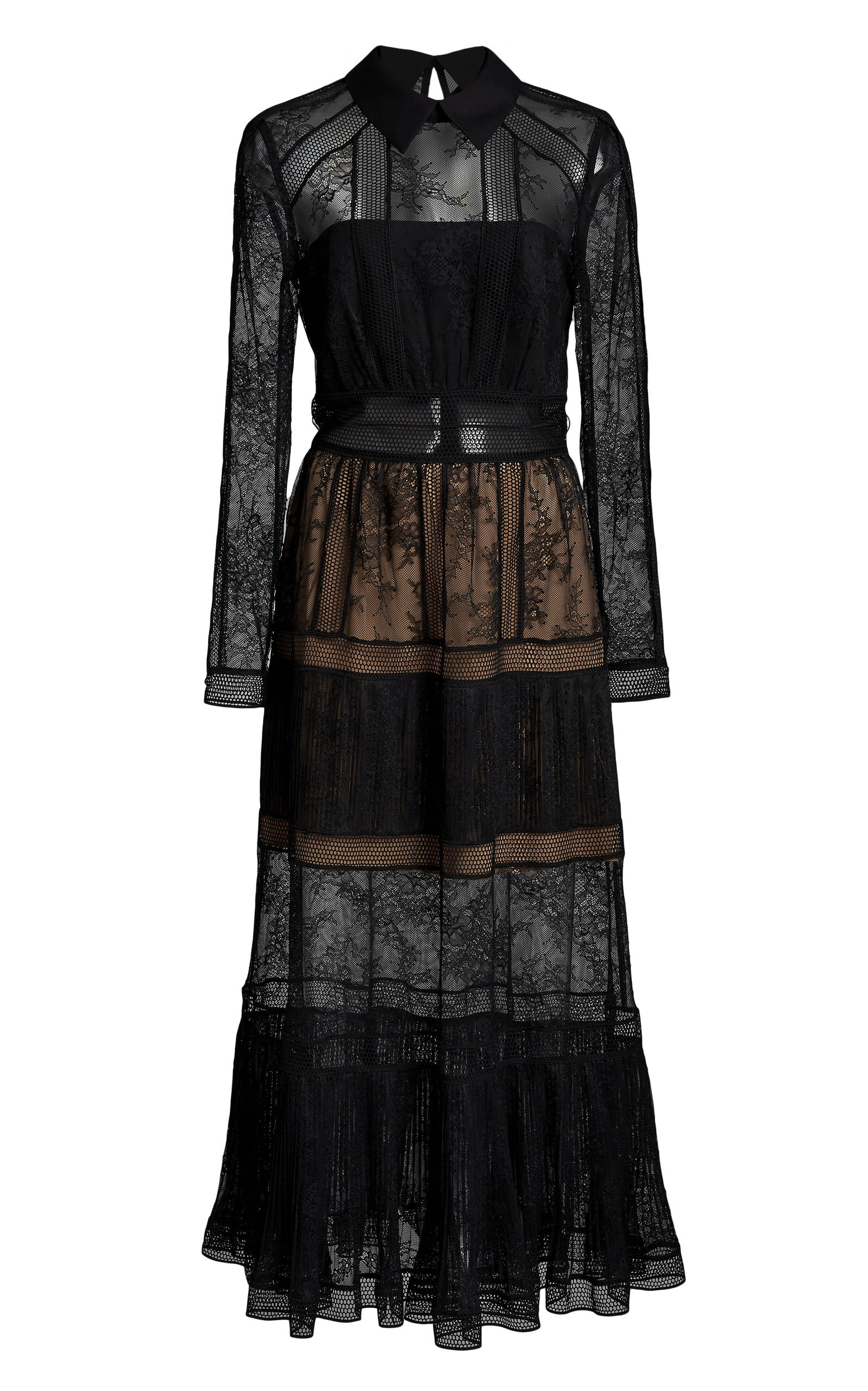 Buy Self Portrait Ruffled Chantilly-Lace Dress online, shop Self Portrait at the best price