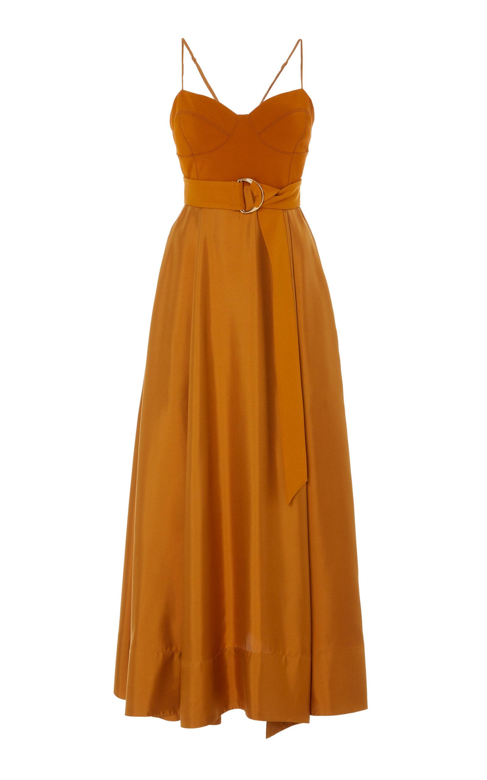 Buy AMUR Tempest Belted Crepe-Paneled Silk Maxi Dress online, shop AMUR at the best price