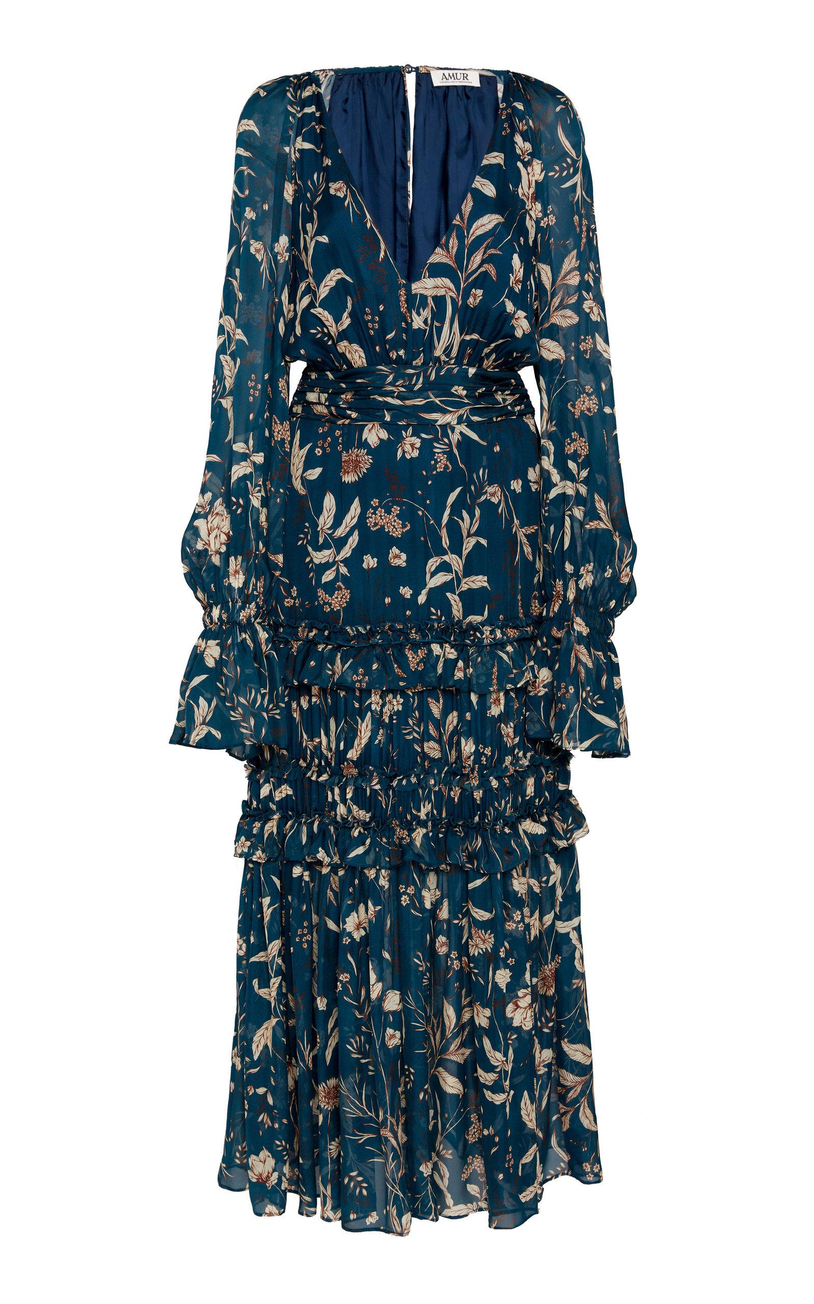 Buy AMUR Reah Printed Ruffled V-Neck Silk Dress online, shop AMUR at the best price