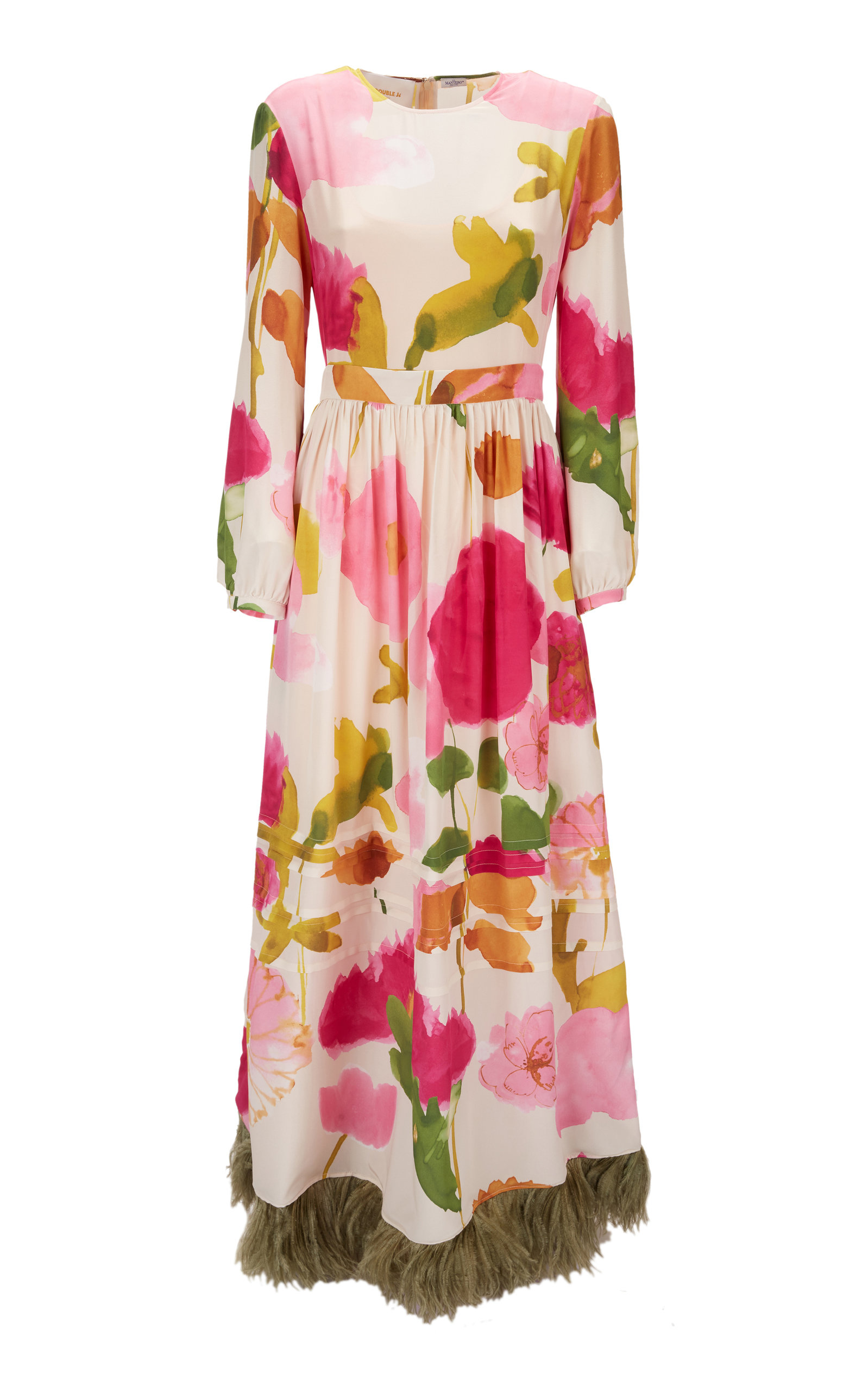 Buy La DoubleJ Pemberly Feather-Embellished Silk Maxi Dress online, shop La DoubleJ at the best price
