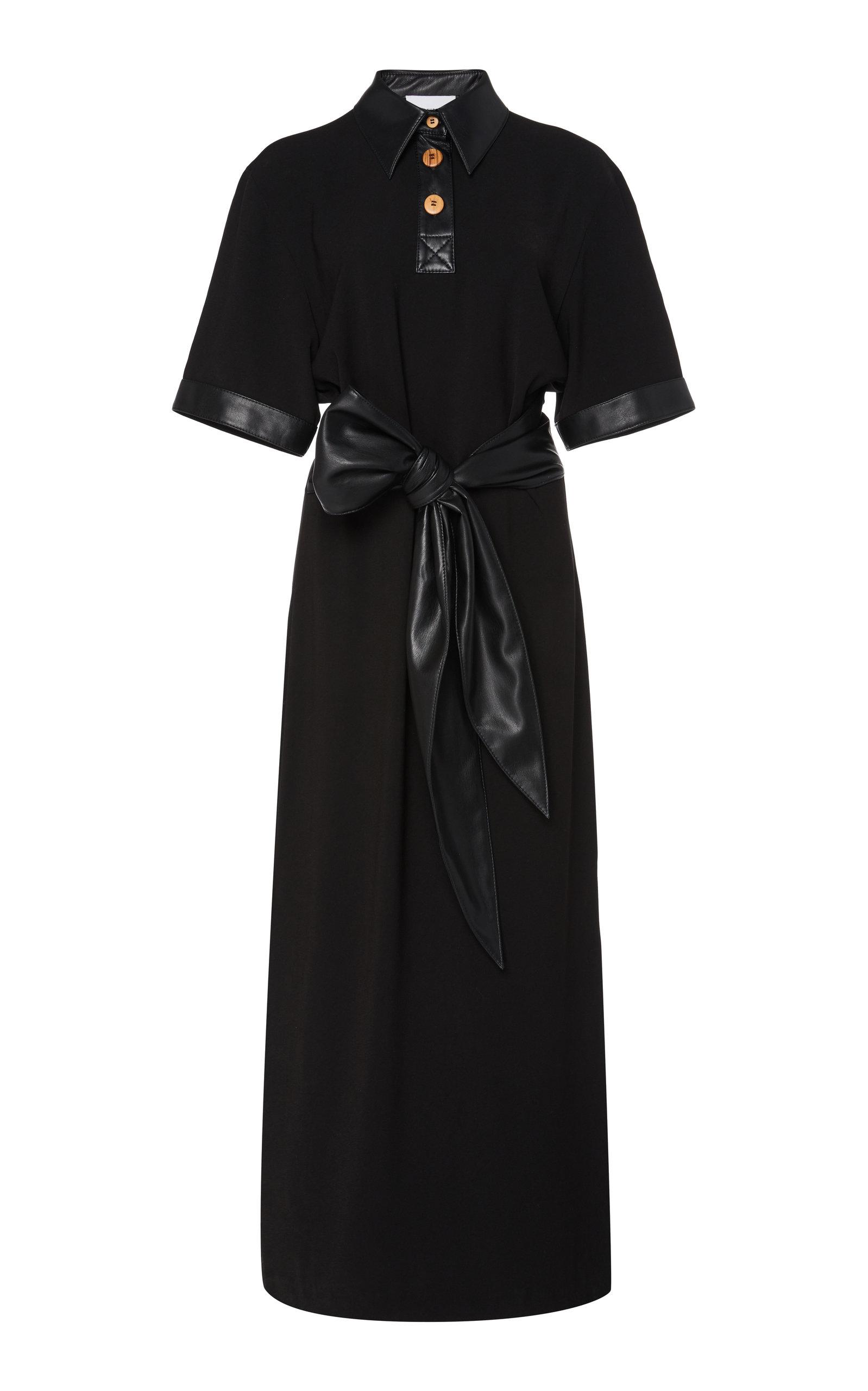 Buy Nanushka Leila Tie-Front Vegan Leather-Trimmed Crepe Dress online, shop Nanushka at the best price