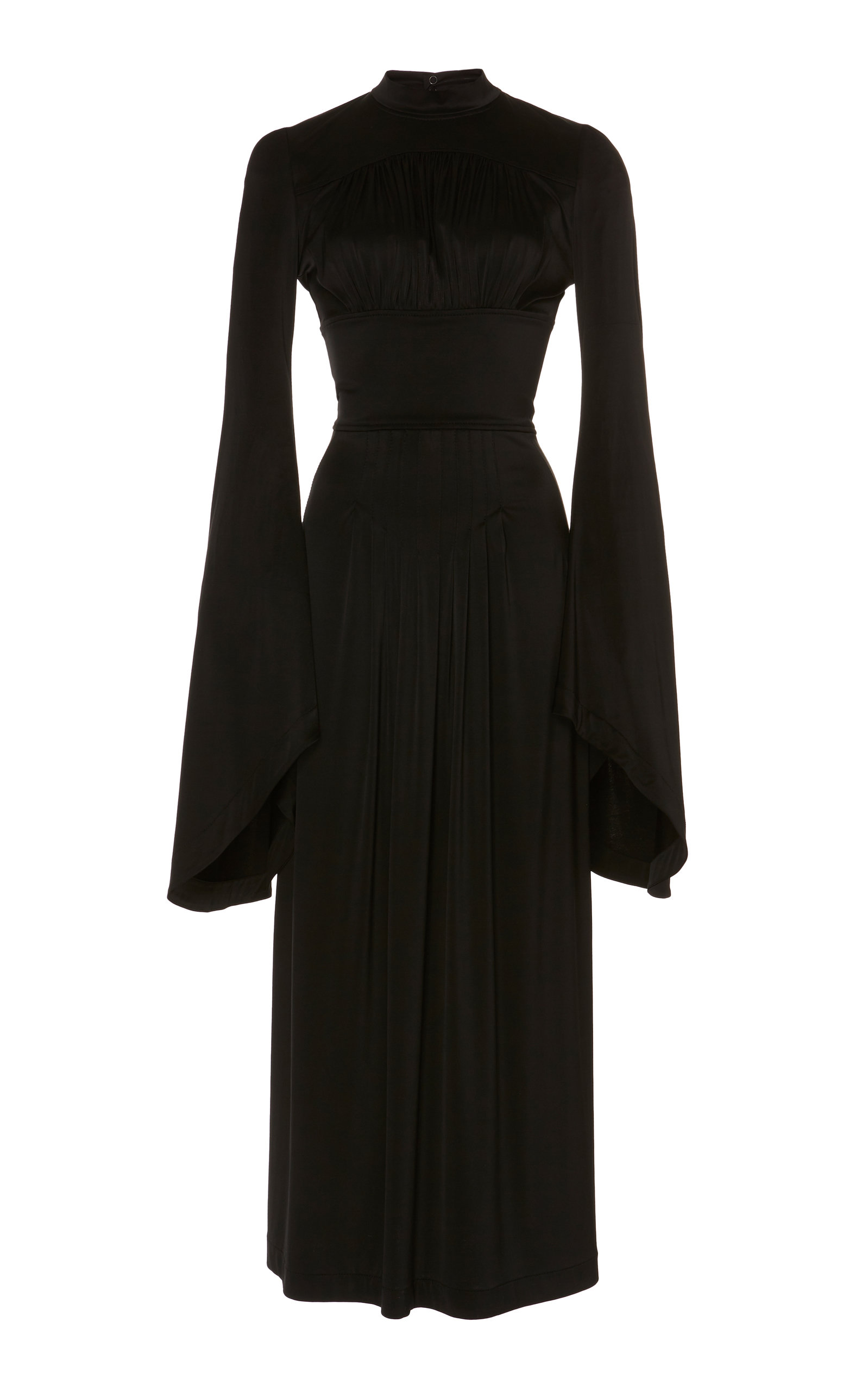 Buy Paco Rabanne Pleated Satin Midi Dress online, shop Paco Rabanne at the best price