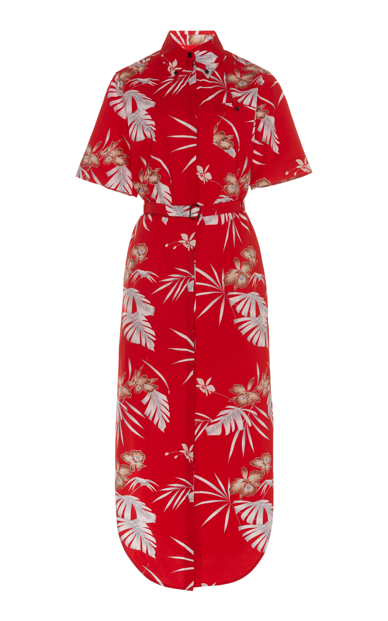 Buy Paco Rabanne Belted Printed Cotton-Poplin Midi Dress online, shop Paco Rabanne at the best price
