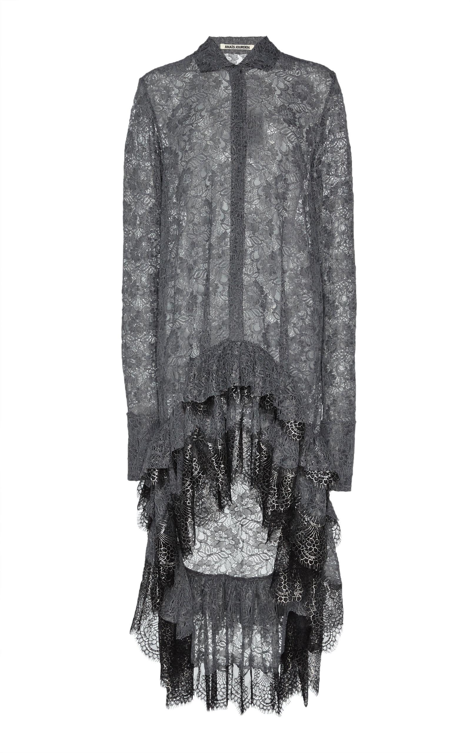 Buy Anaïs Jourden High-Low Ruffled Lace Shirtdress online, shop Anaïs Jourden at the best price