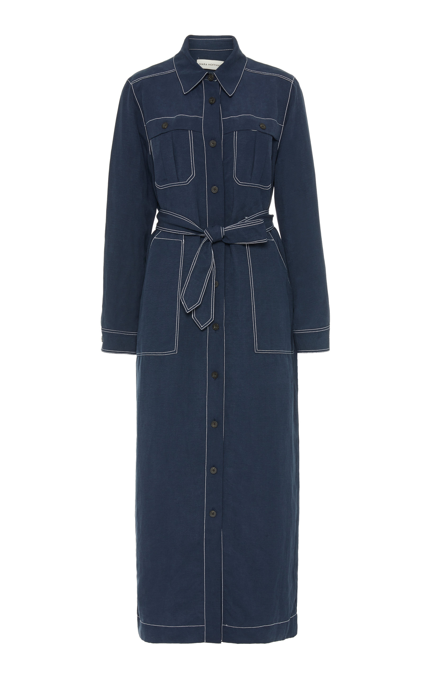 Buy Mara Hoffman Juno Topstitched Twill Shirt Dress online, shop Mara Hoffman at the best price