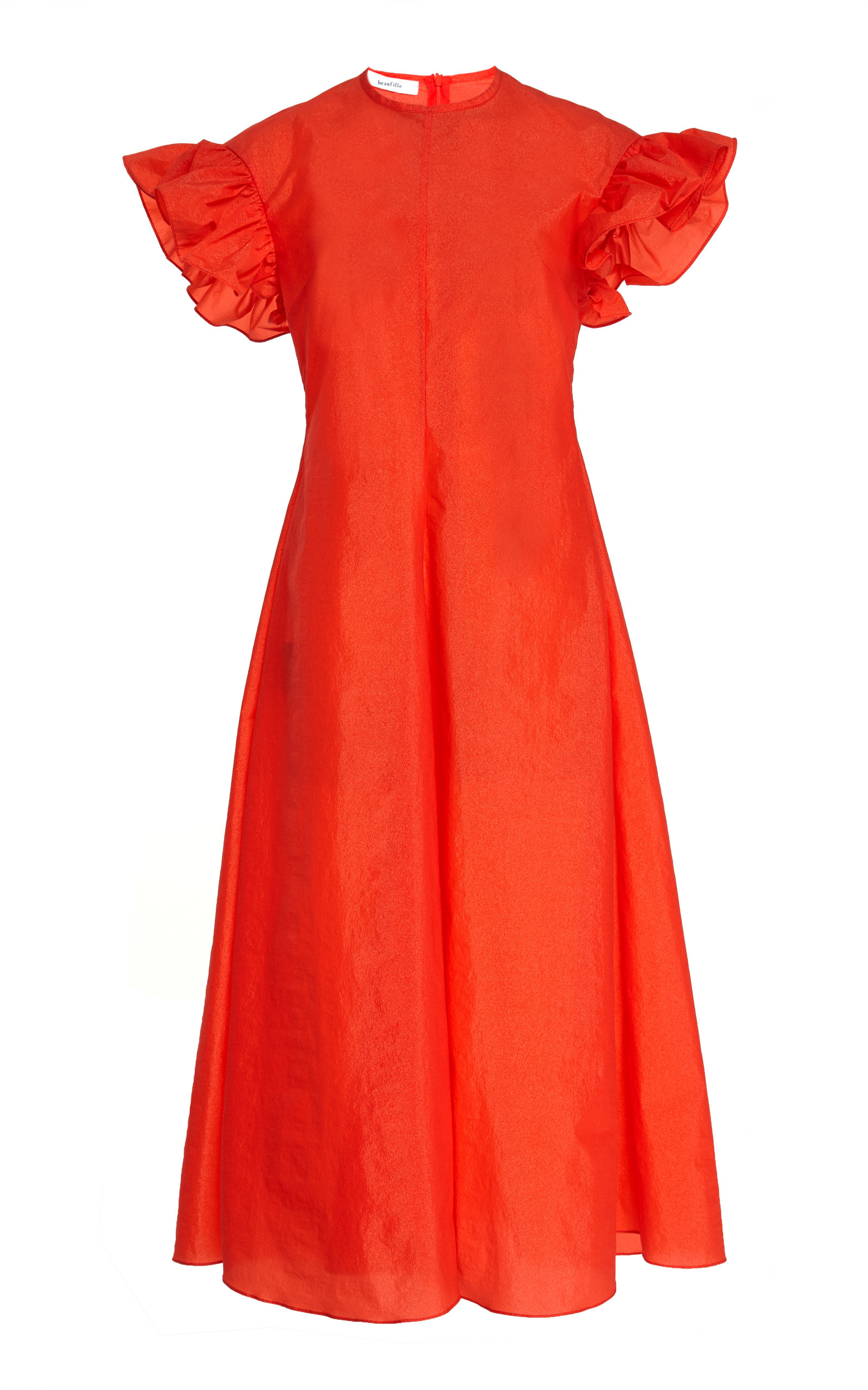 Buy Beaufille Dorado Ruffle-Sleeve Crepe Midi Dress online, shop Beaufille at the best price