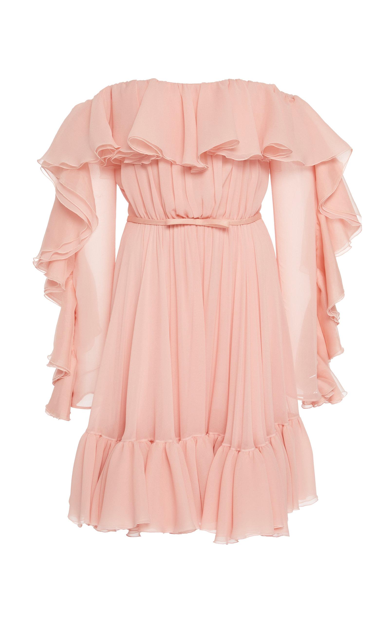 Buy Giambattista Valli Off-The-Shoulder Ruffled Silk-Chiffon Mini Dress online, shop Giambattista Valli at the best price