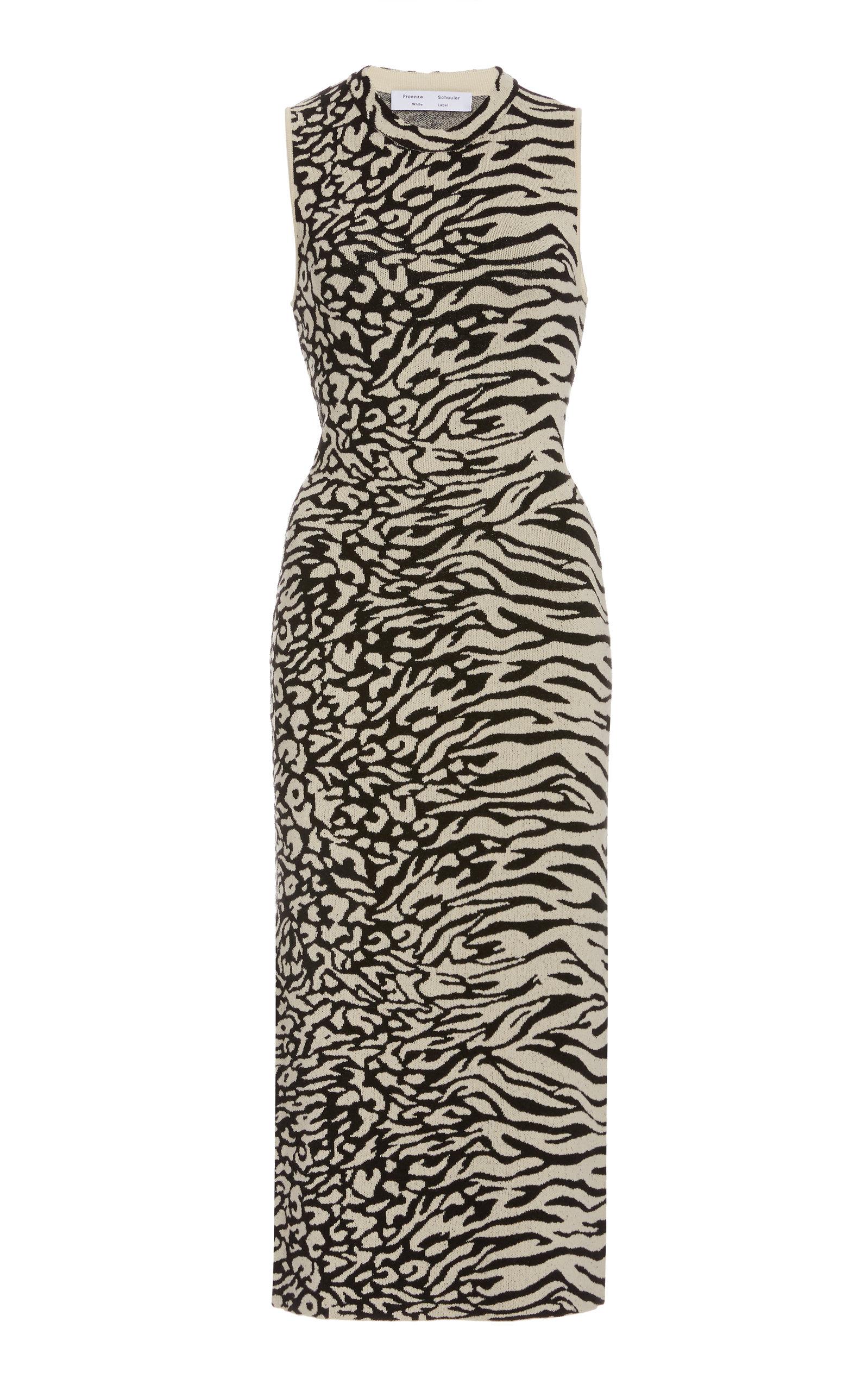 Buy Proenza Schouler White Label Zebra-Print Knit Dress online, shop Proenza Schouler White Label at the best price