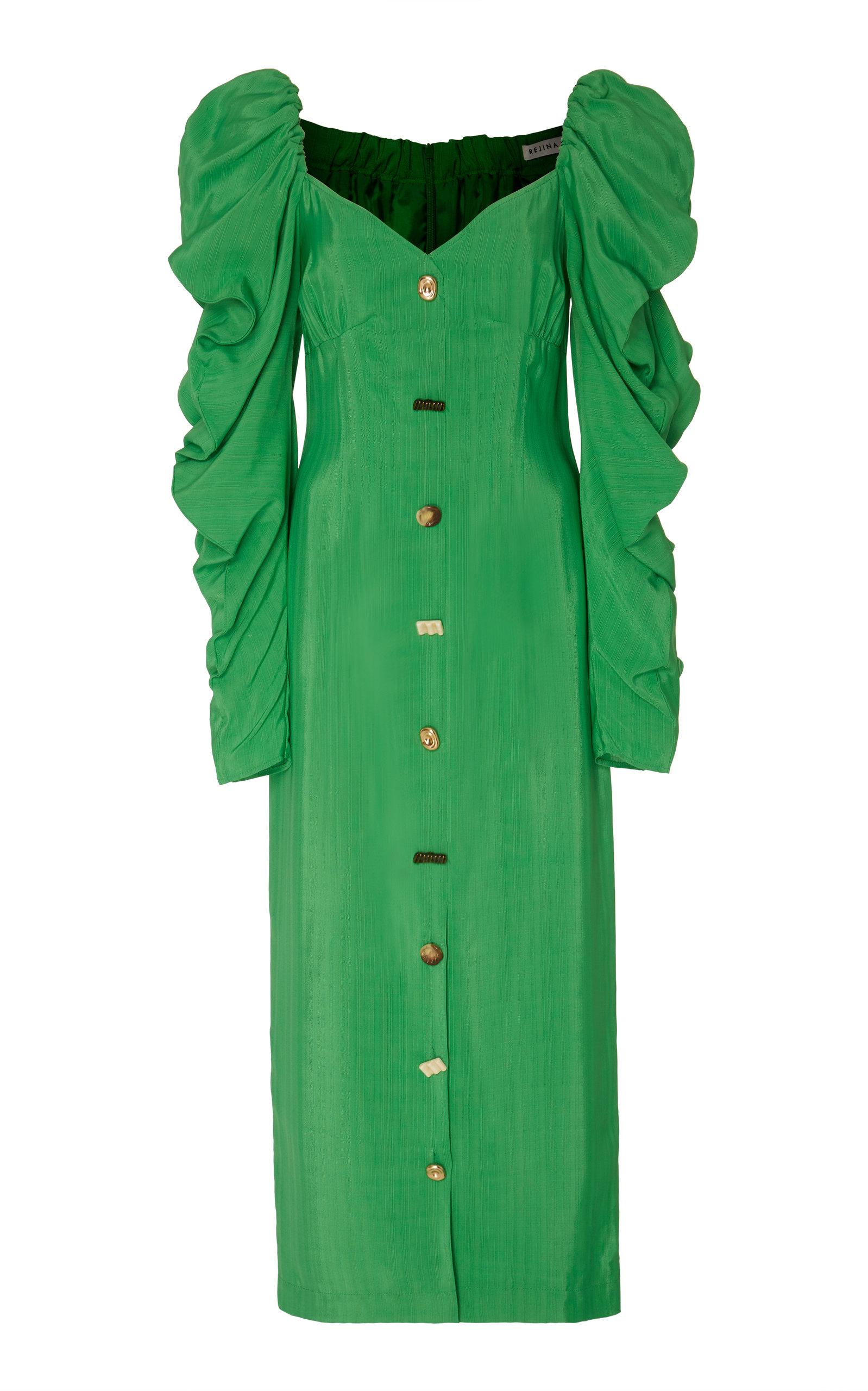 Buy Rejina Pyo Betty Button-Embellished Gathered Twill Midi Dress online, shop Rejina Pyo at the best price