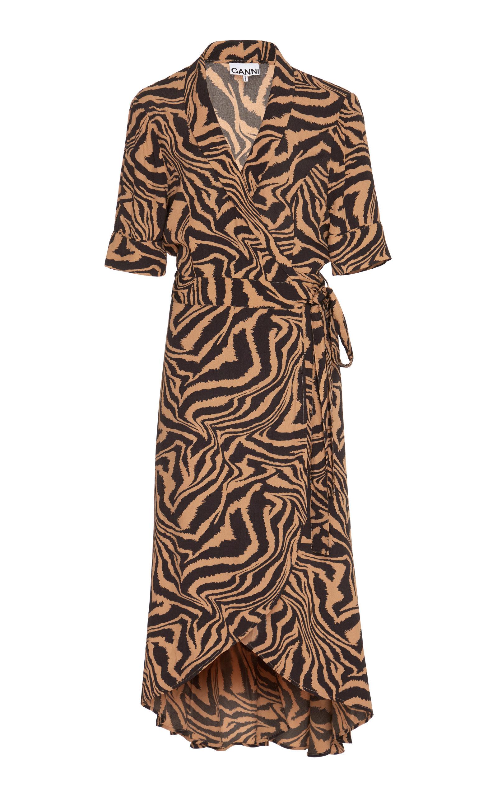 Buy Ganni Animal-Printed Midi Dress online, shop Ganni at the best price