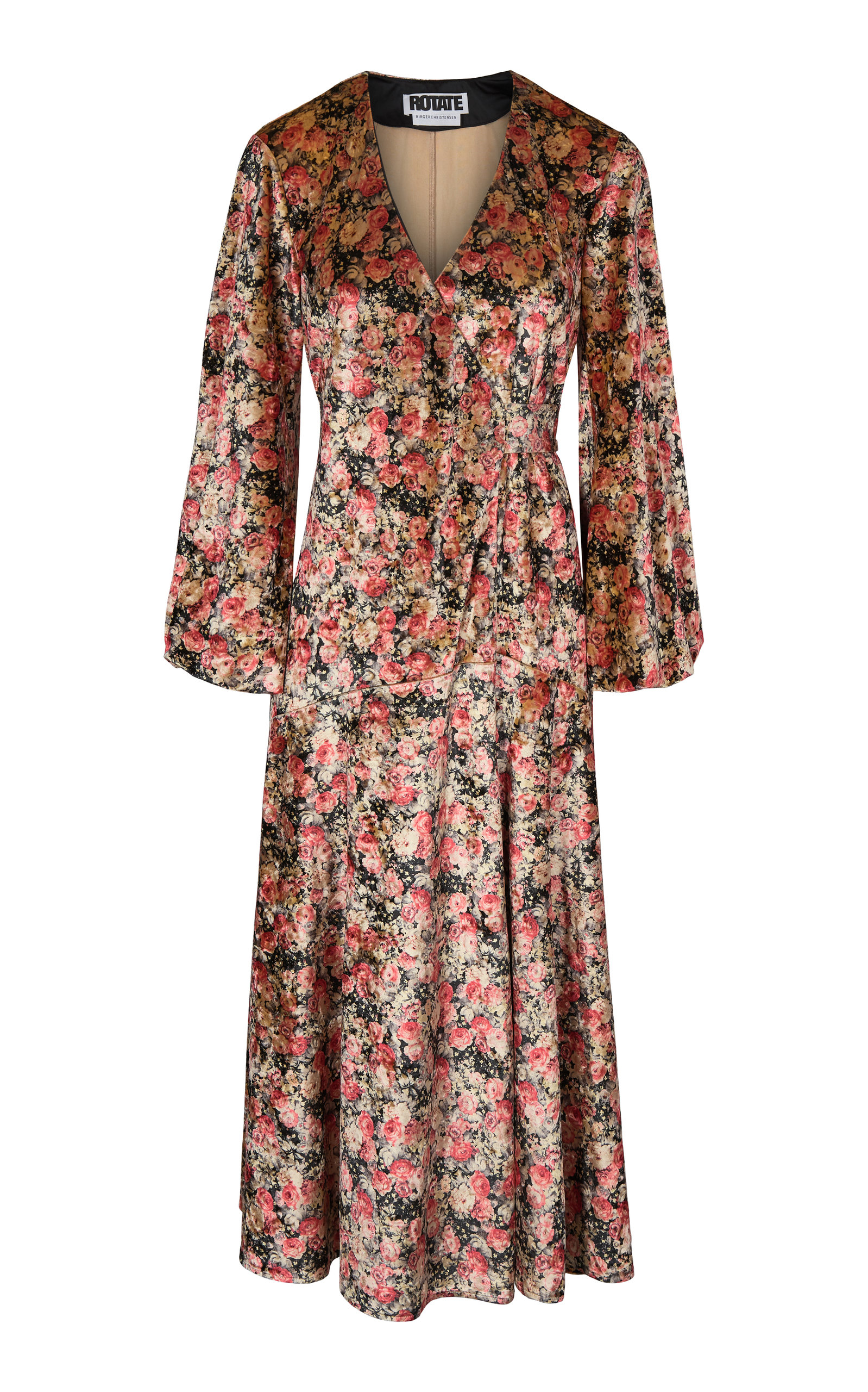 Buy ROTATE Beatrix Floral-Print Velvet Wrap Dress online, shop ROTATE at the best price