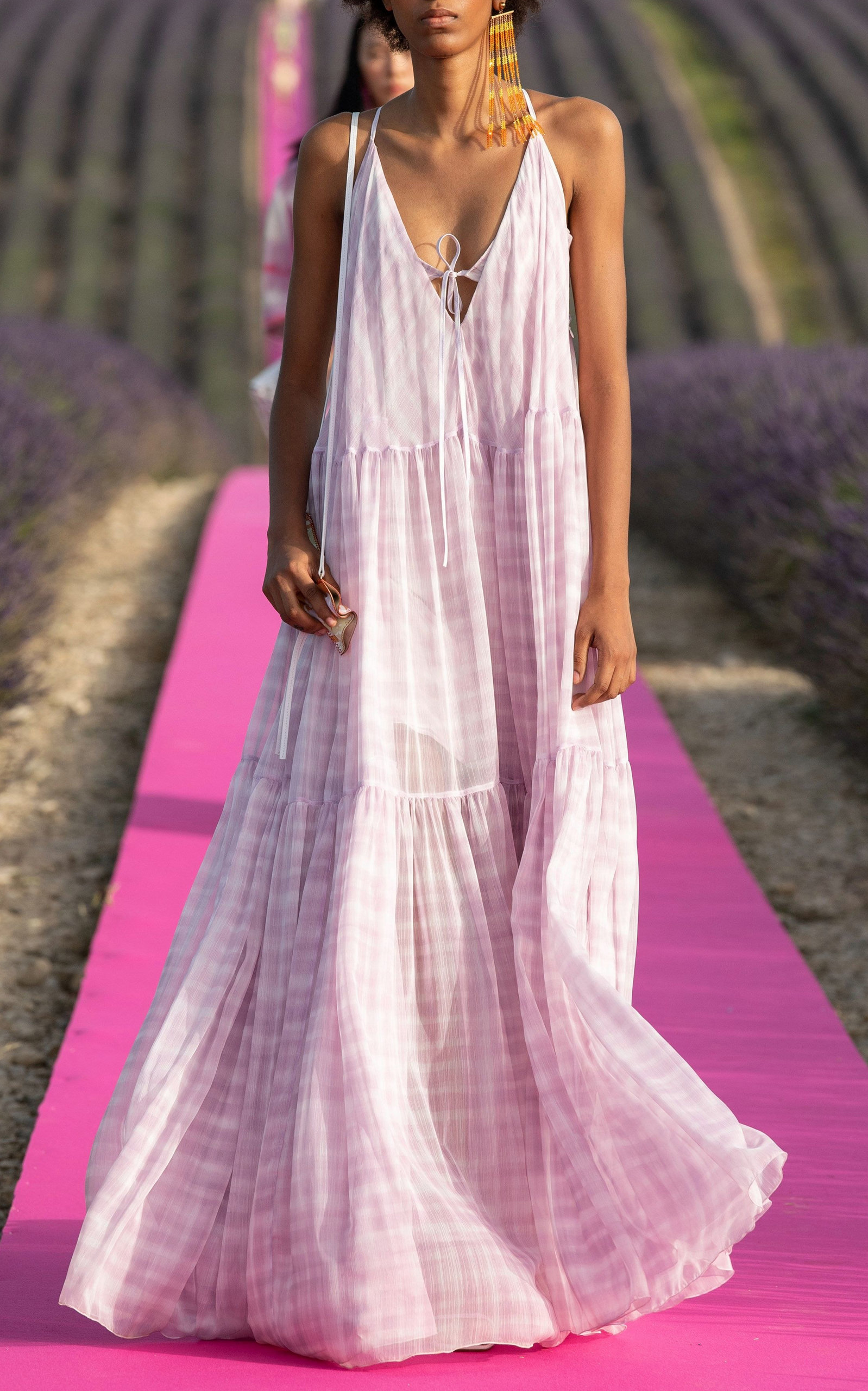 Buy Jacquemus La Robe Mistral Checked Chiffon Maxi Dress online, shop Jacquemus at the best price
