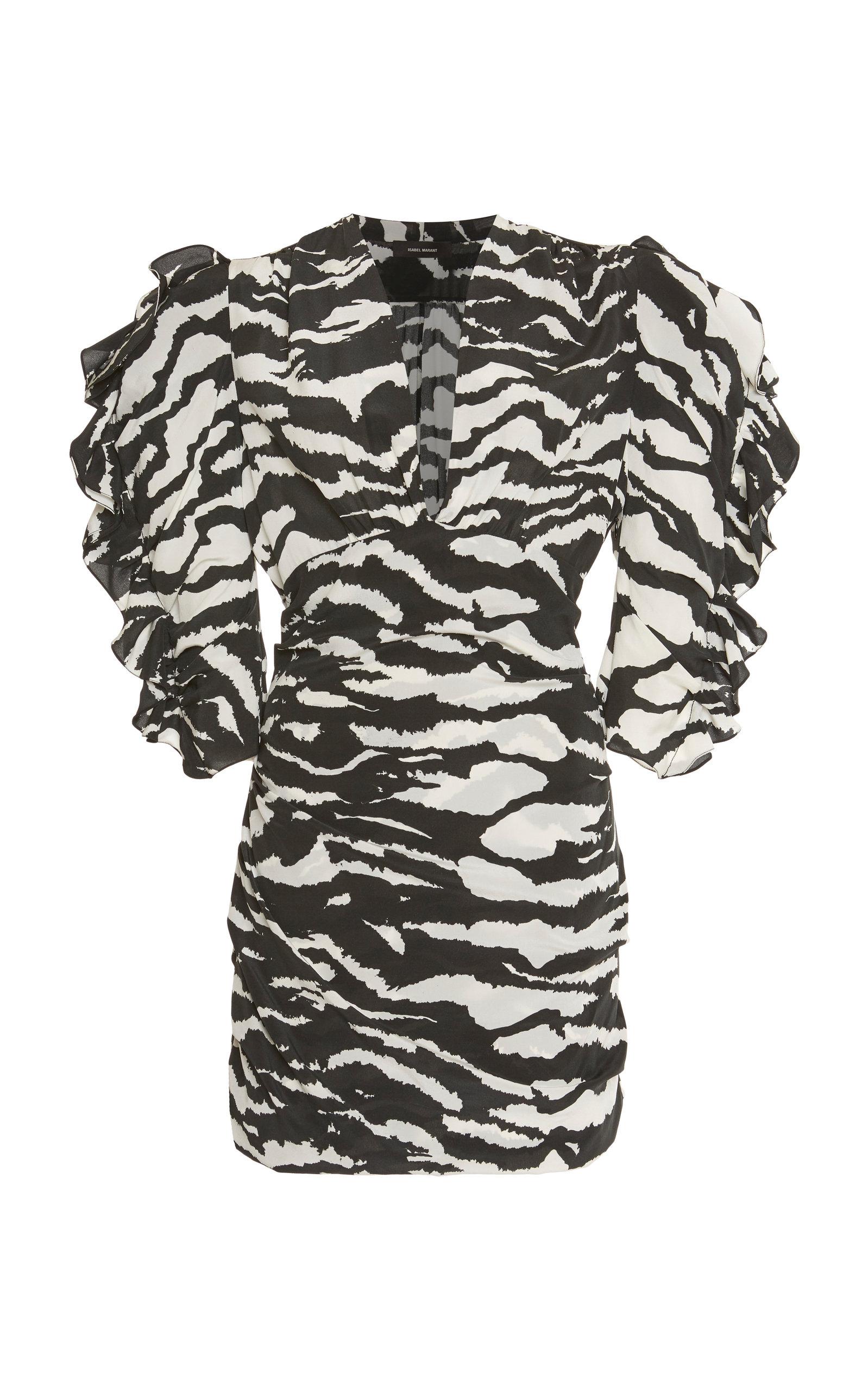 Buy Isabel Marant Farah Zebra-Print Stretch-Silk Mini Dress online, shop Isabel Marant at the best price