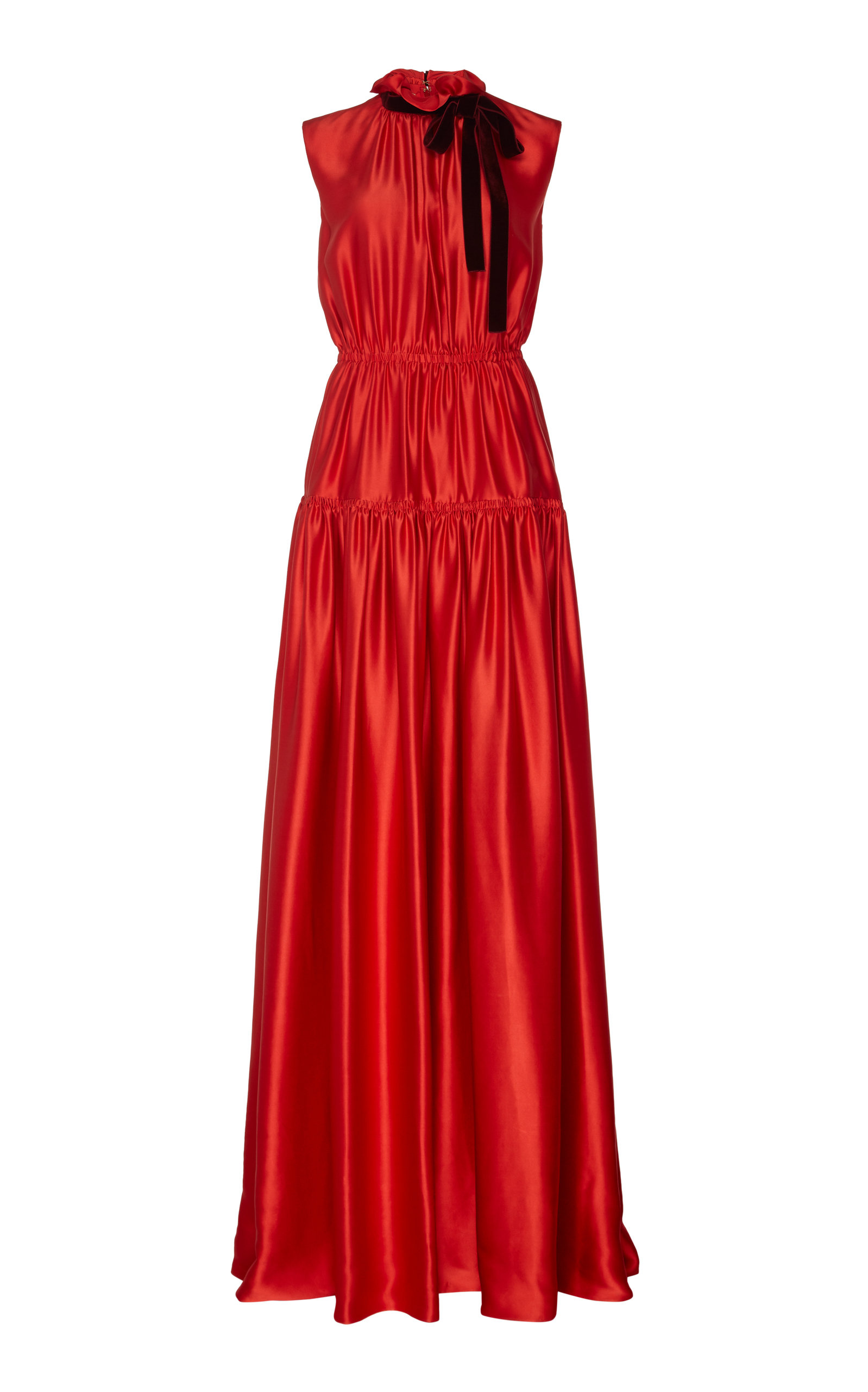 Buy ROKSANDA Giona Tie-Detailed Tiered Silk-Satin Gown online, shop ROKSANDA at the best price