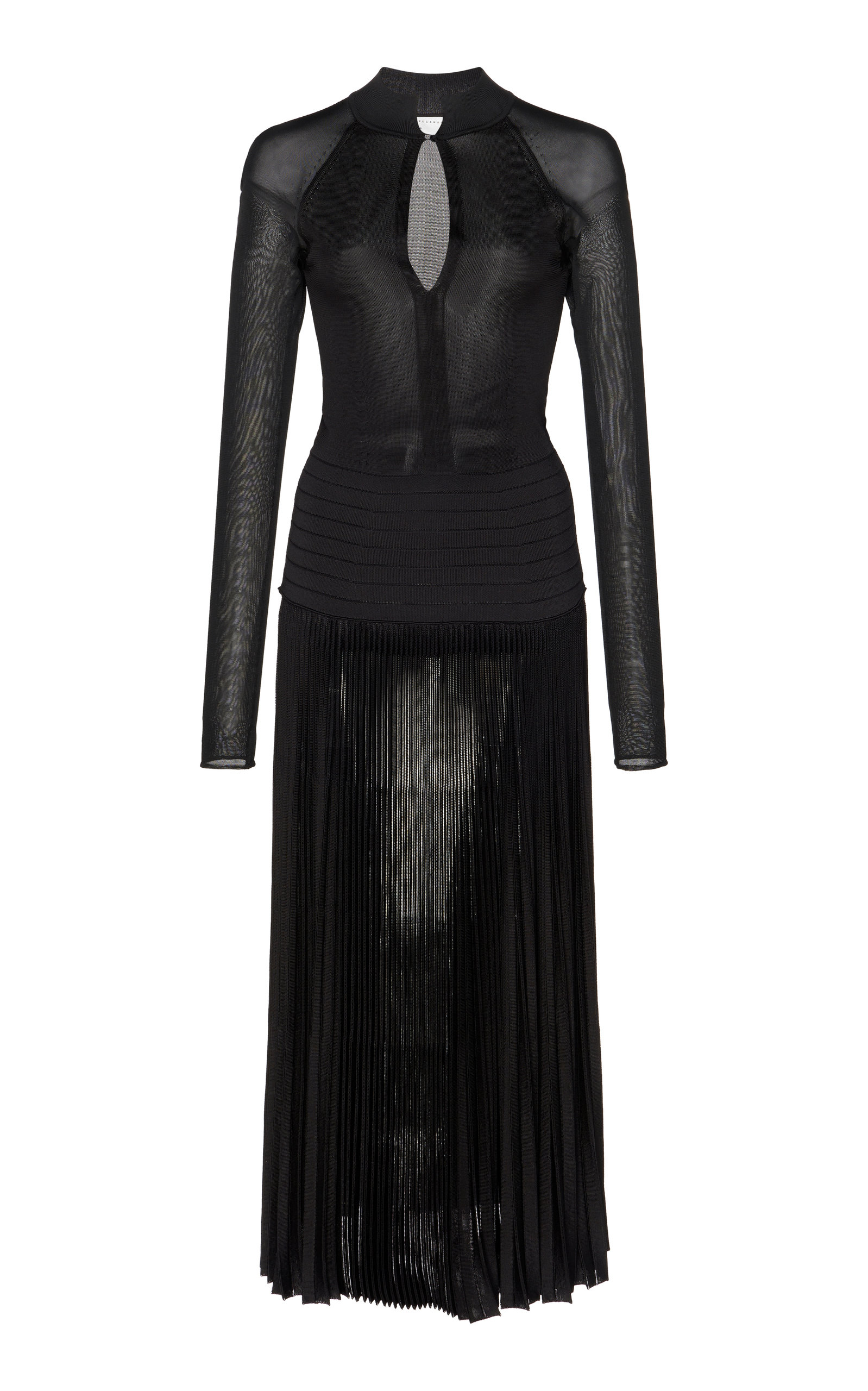 Buy Victoria Beckham Pleated Sheer Knit Midi Dress online, shop Victoria Beckham at the best price