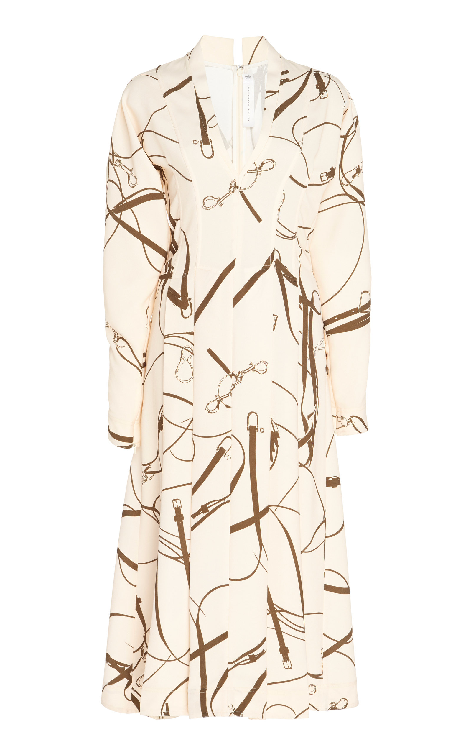 Buy Victoria Beckham Printed Flared Crepe Midi Dress online, shop Victoria Beckham at the best price