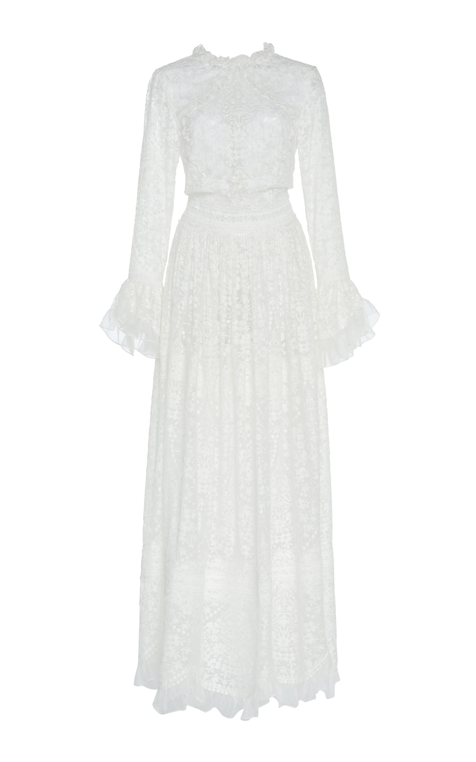 Buy Costarellos Ruffle-Trimmed Guipure Lace Maxi Dress online, shop Costarellos at the best price