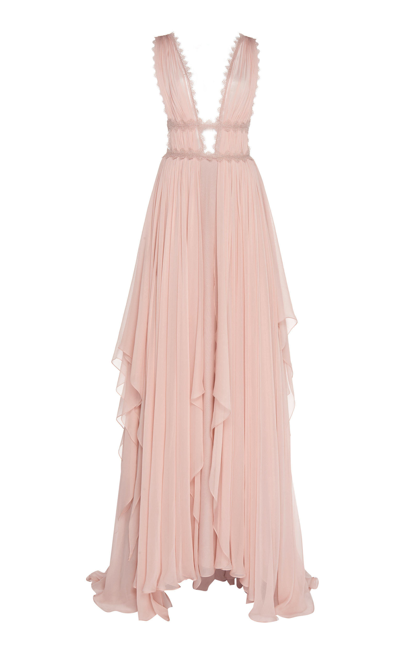 Buy Costarellos Caged-Bodice Silk-Chiffon Gown online, shop Costarellos at the best price