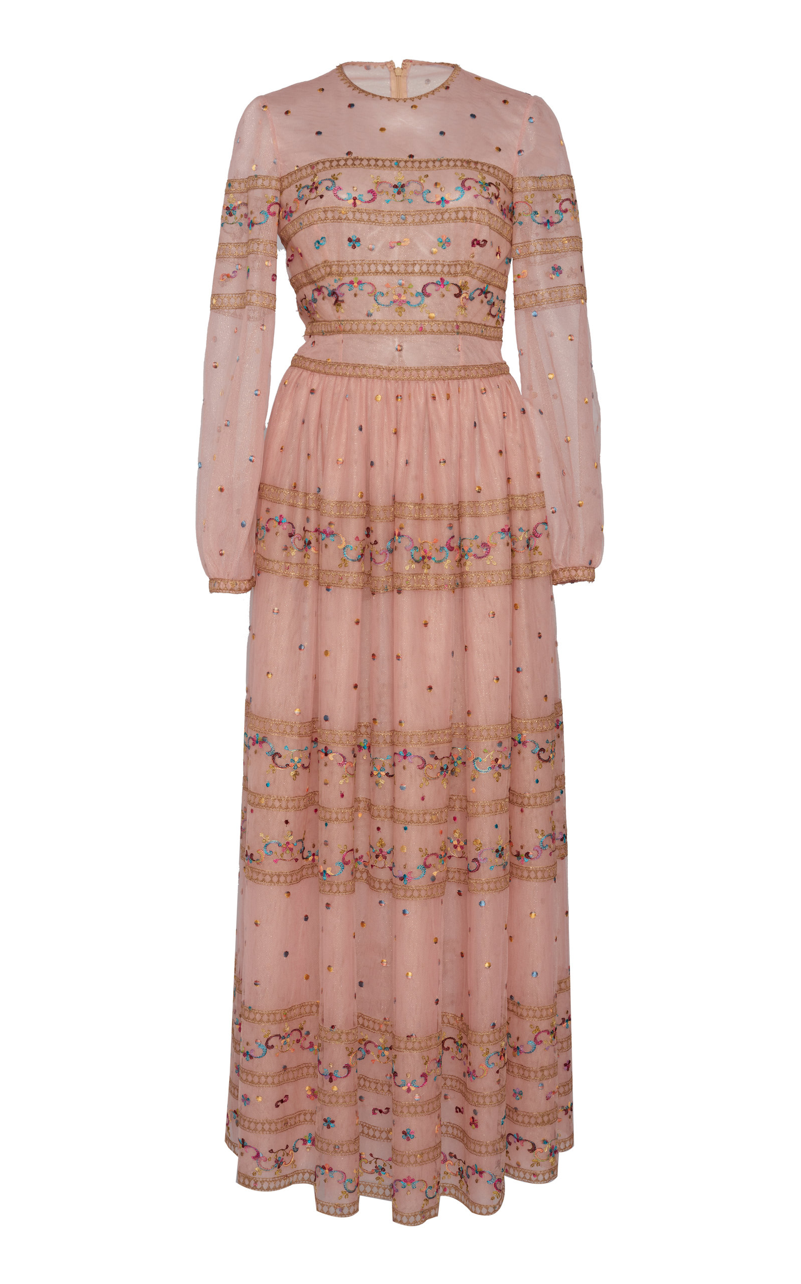 Buy Costarellos Embroidered Chiffon Maxi Dress online, shop Costarellos at the best price