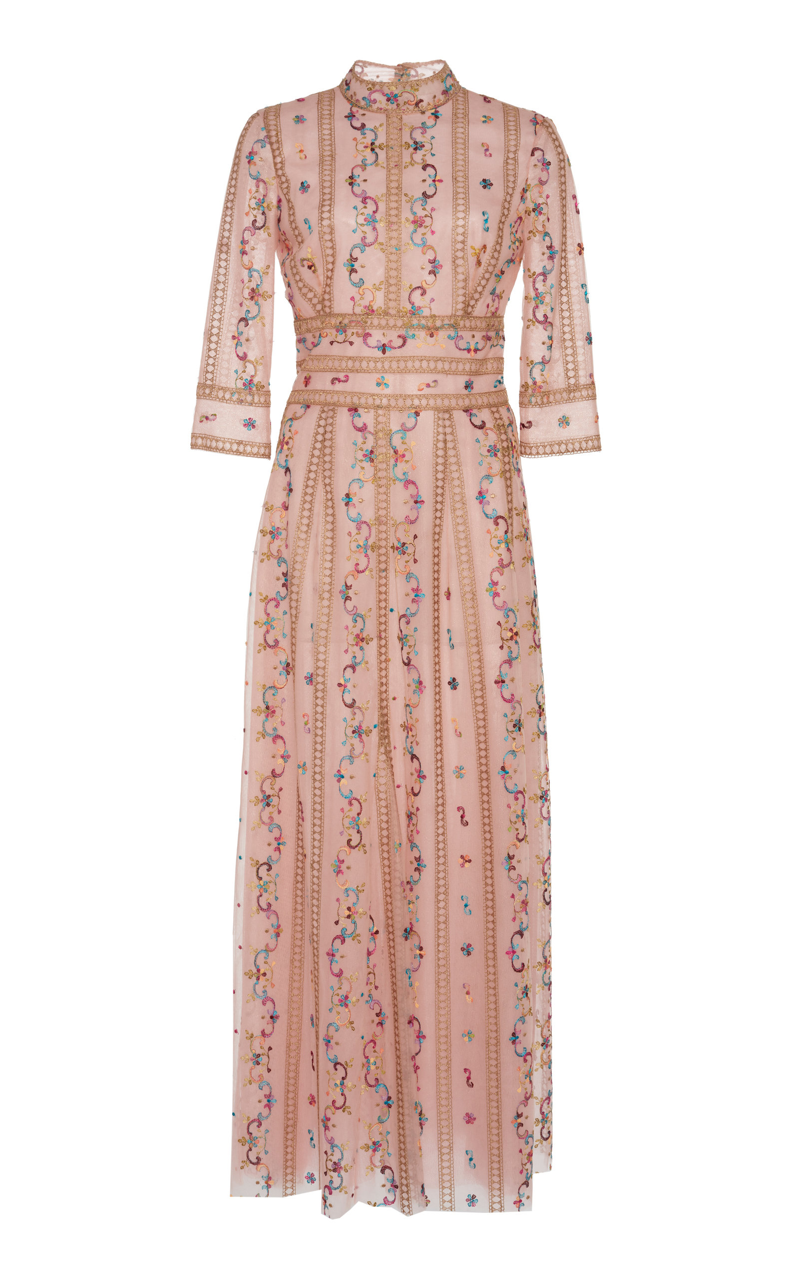 Buy Costarellos Floral-Embroidered Tulle Midi Dress online, shop Costarellos at the best price