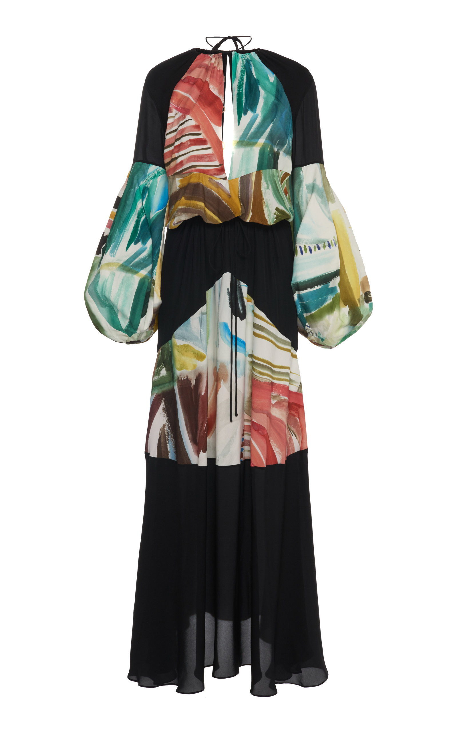 Buy Rosie Assoulin Paneled Printed Chiffon Maxi Dress online, shop Rosie Assoulin at the best price