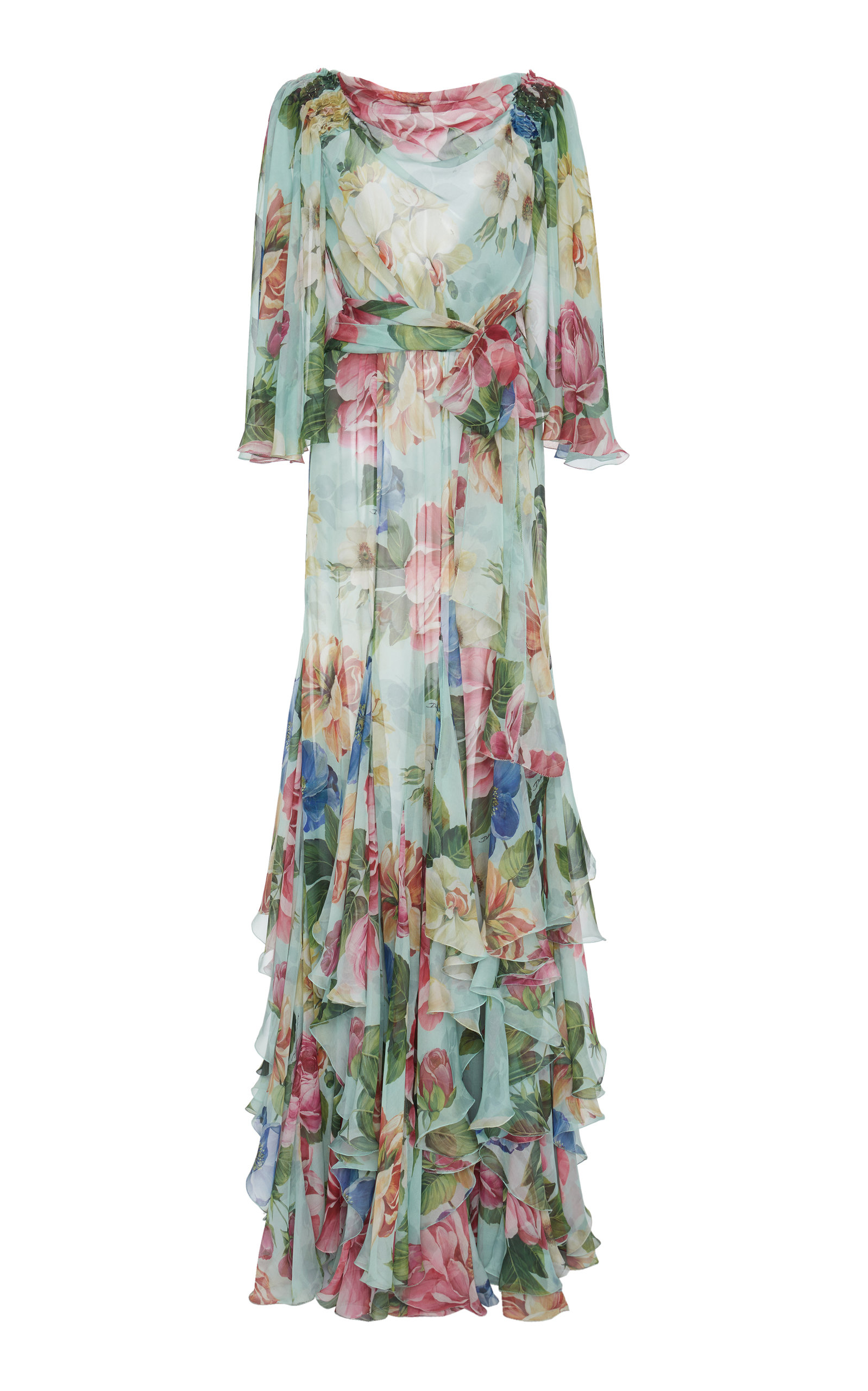 Buy Dolce & Gabbana Floral-Print Ruffled Silk Maxi Dress online, shop Dolce & Gabbana at the best price