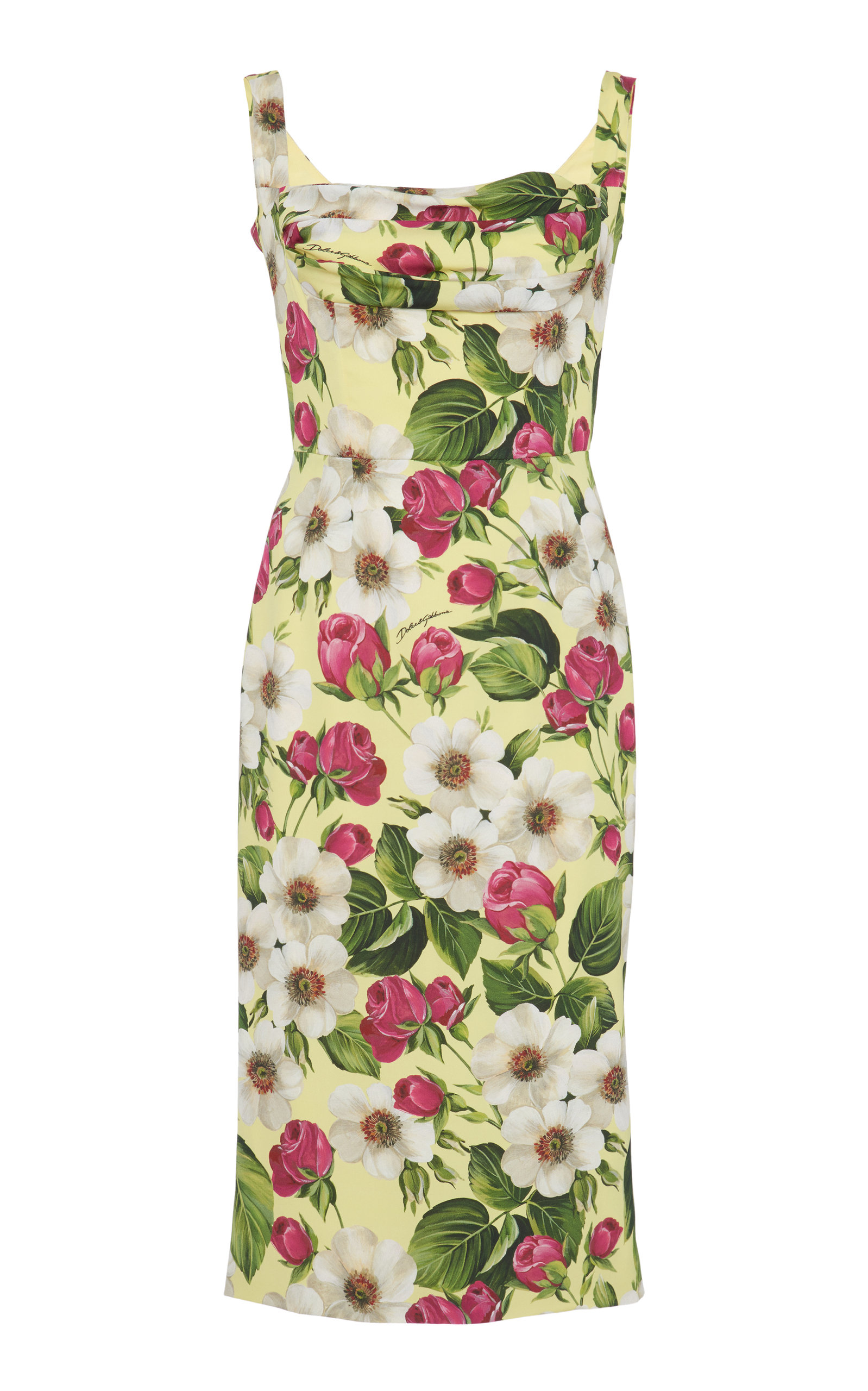 Buy Dolce & Gabbana Floral-Print Square-Neck Stretch-Silk Dress online, shop Dolce & Gabbana at the best price
