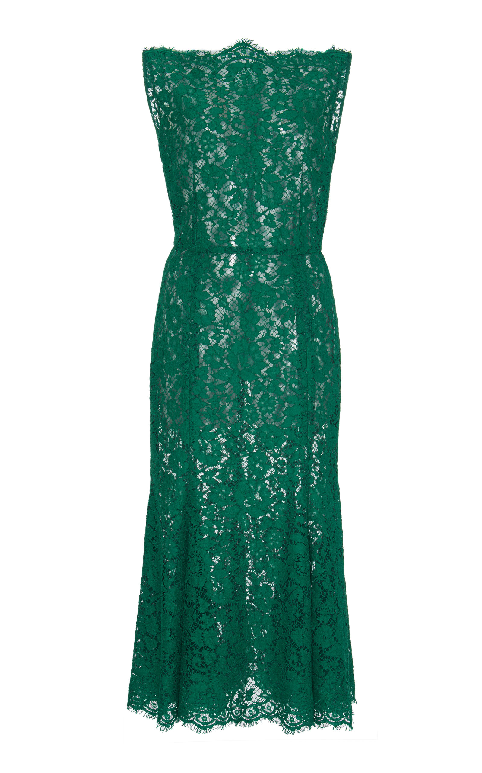 Buy Dolce & Gabbana Sleeveless Lace Midi Dress online, shop Dolce & Gabbana at the best price