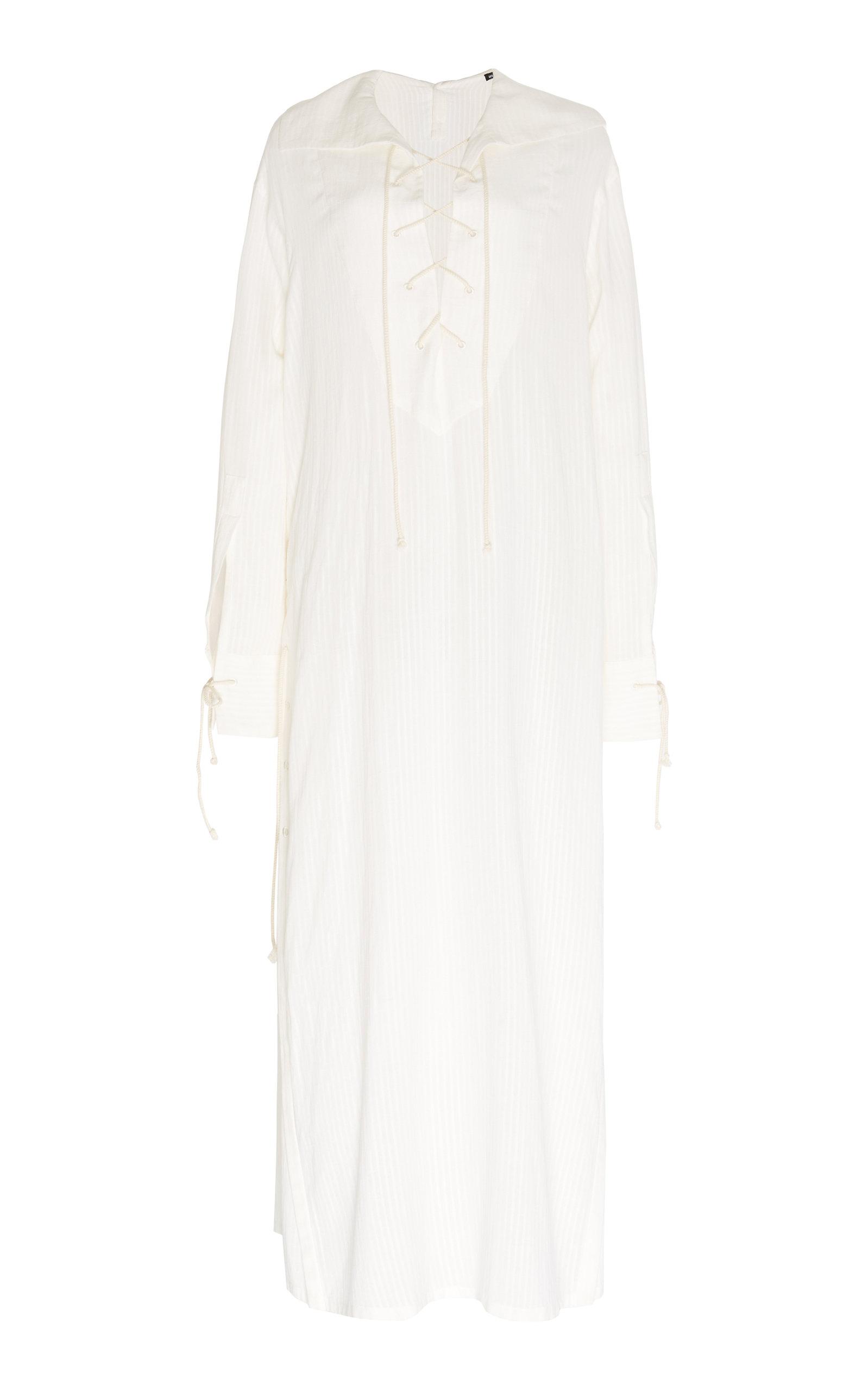 Buy Ann Demeulemeester Lace-Up Cotton-Blend Shirt Dress online, shop Ann Demeulemeester at the best price