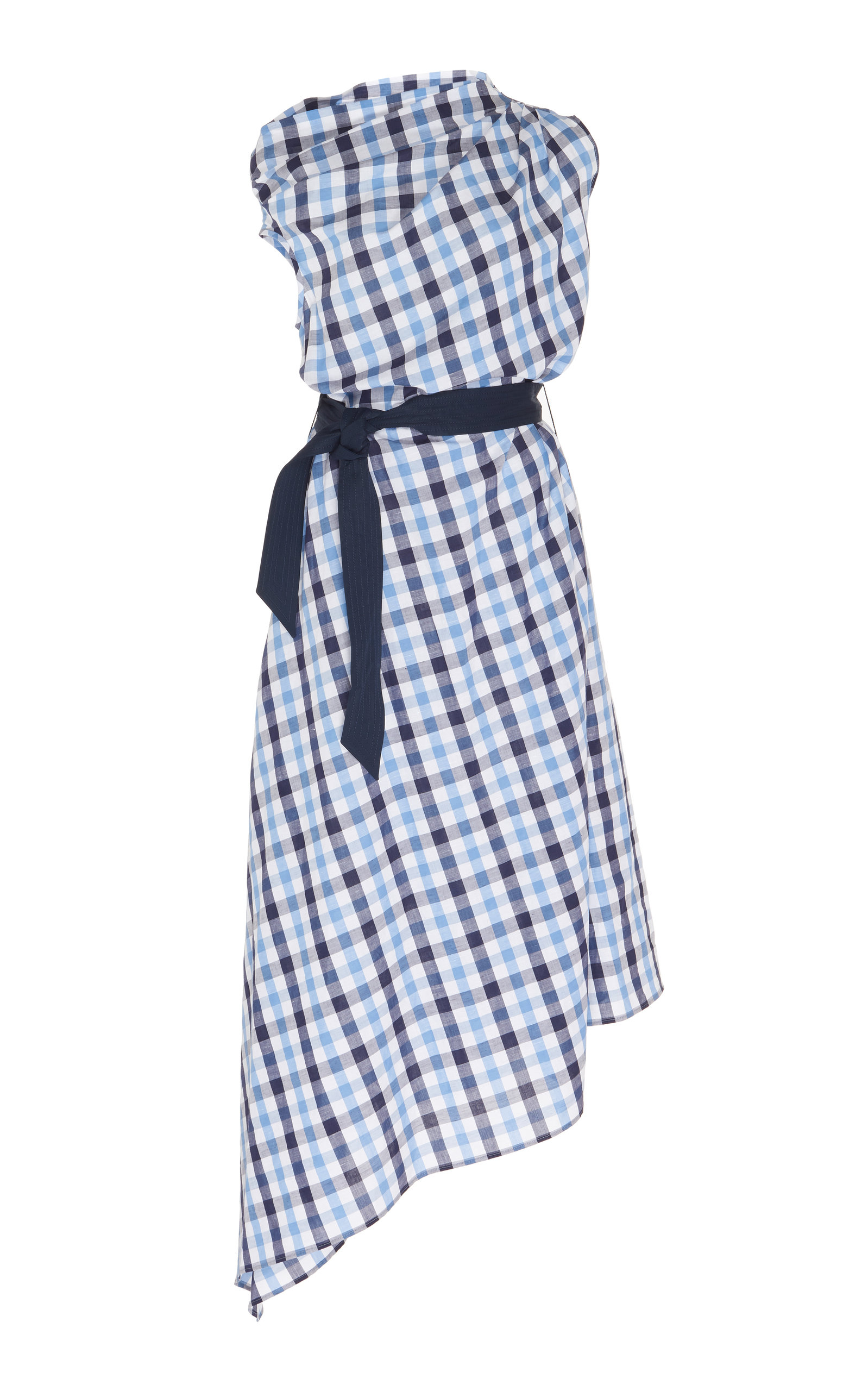 Buy Martin Grant Asymmetrical Checked Cotton-Linen Midi Dress online, shop Martin Grant at the best price