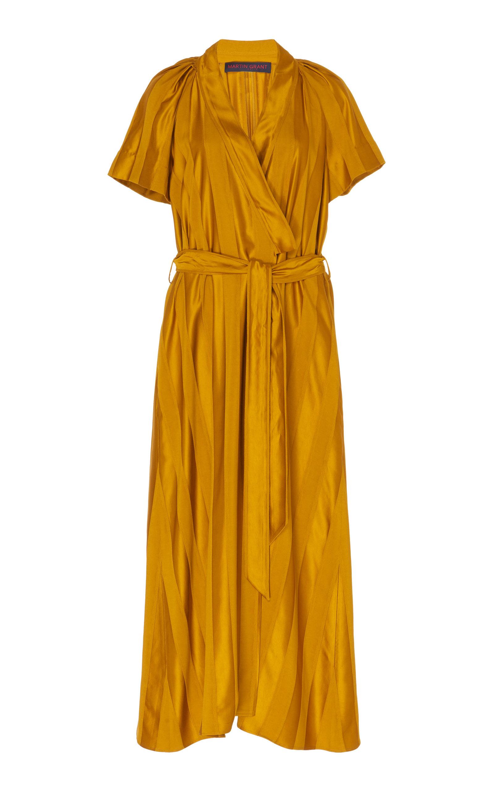 Buy Martin Grant Tonal-Striped Satin Wrap Midi Dress online, shop Martin Grant at the best price