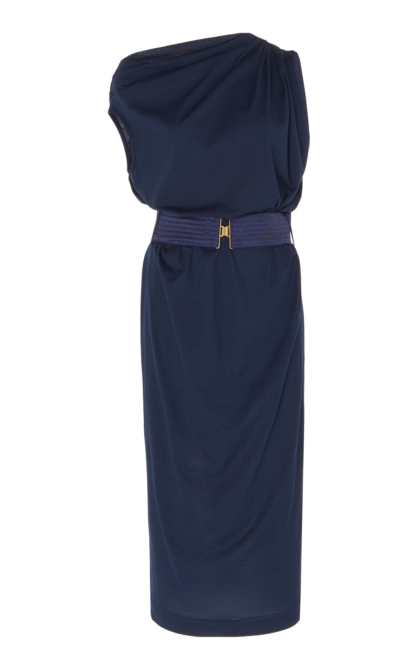 Buy Martin Grant Belted Draped Jersey Midi Dress online, shop Martin Grant at the best price