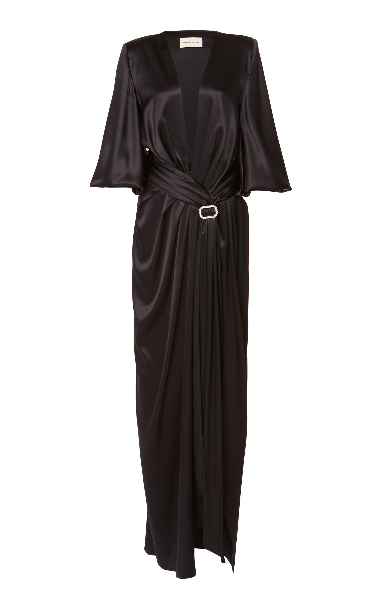 Buy Alexandre Vauthier Draped Belted Silk-Blend Dress online, shop Alexandre Vauthier at the best price
